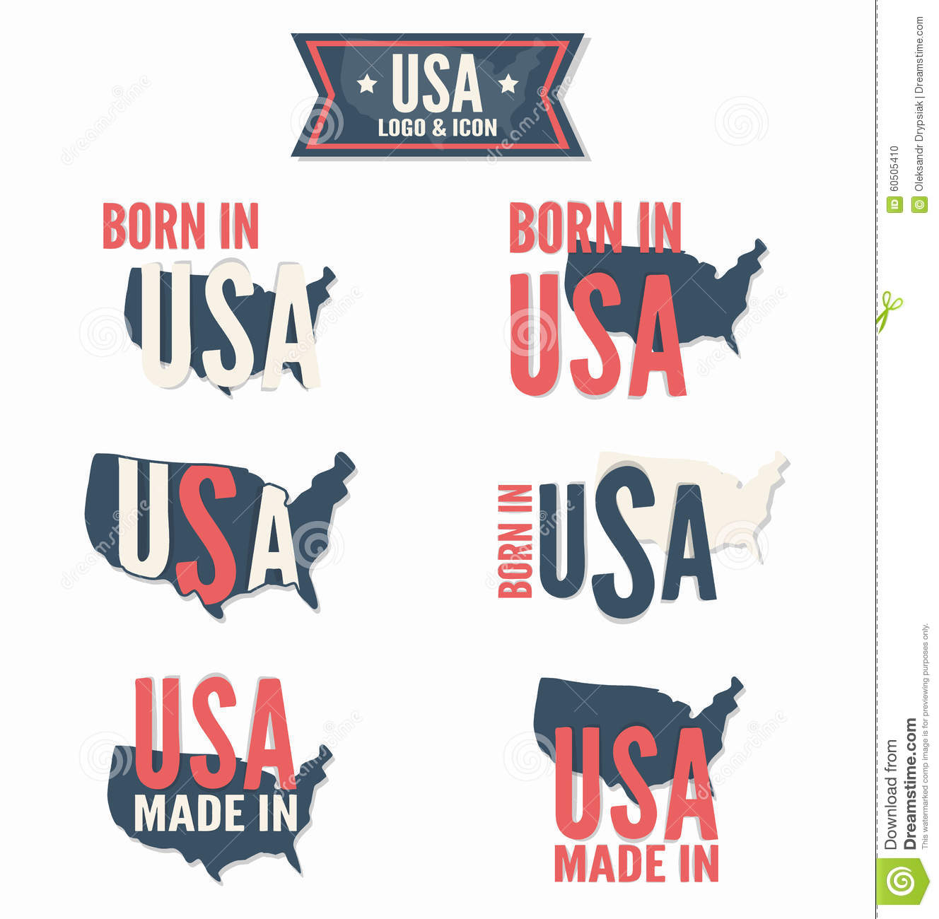Set of made in the usa and born in the usa vector stock for Design company usa
