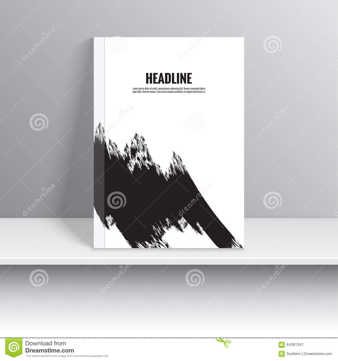 Book Cover Black Paint ~ Set magazine cover with black strokes stock vector image