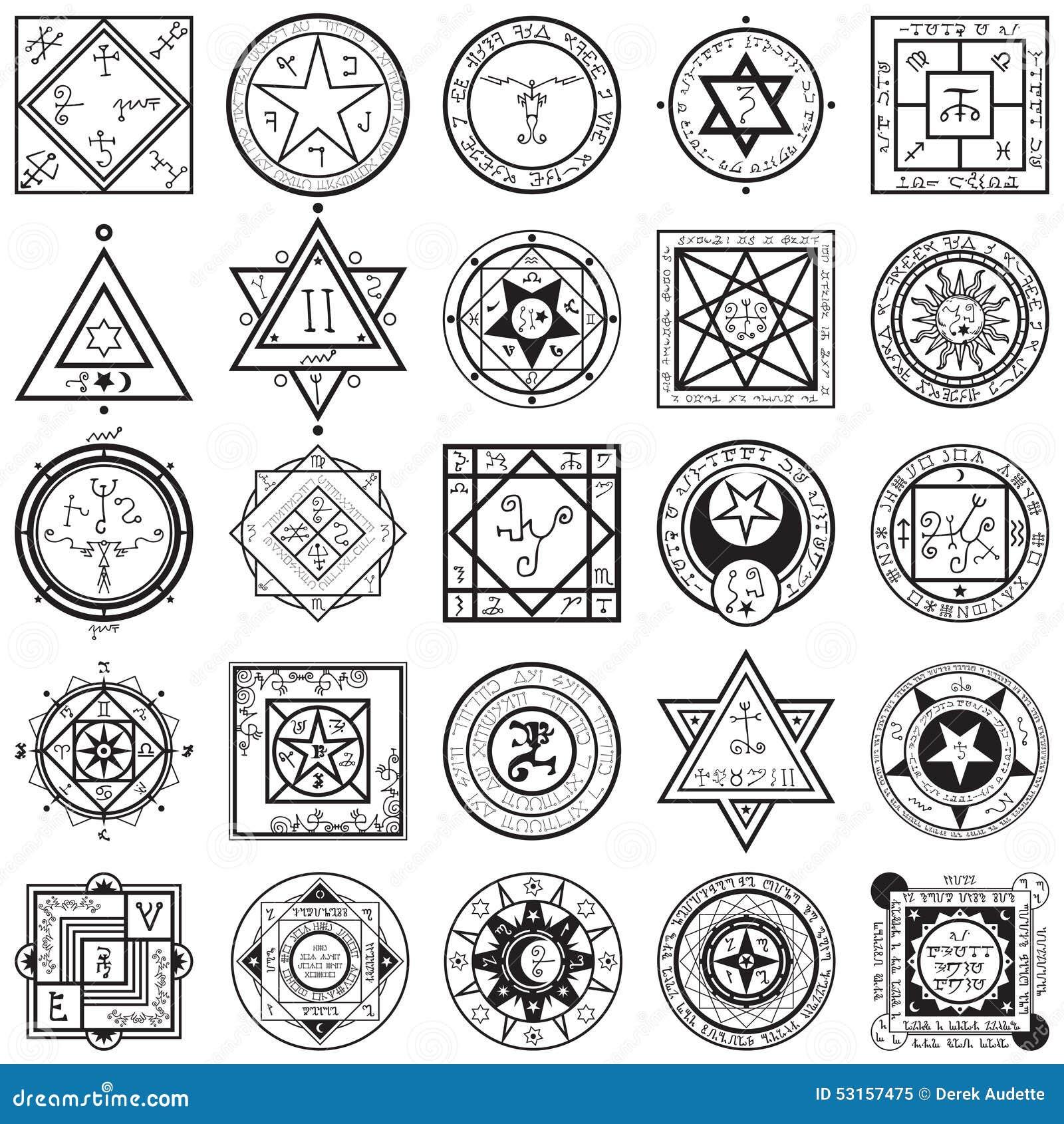 Set Of Magic And Alchemy Sigils Vectors Illustration