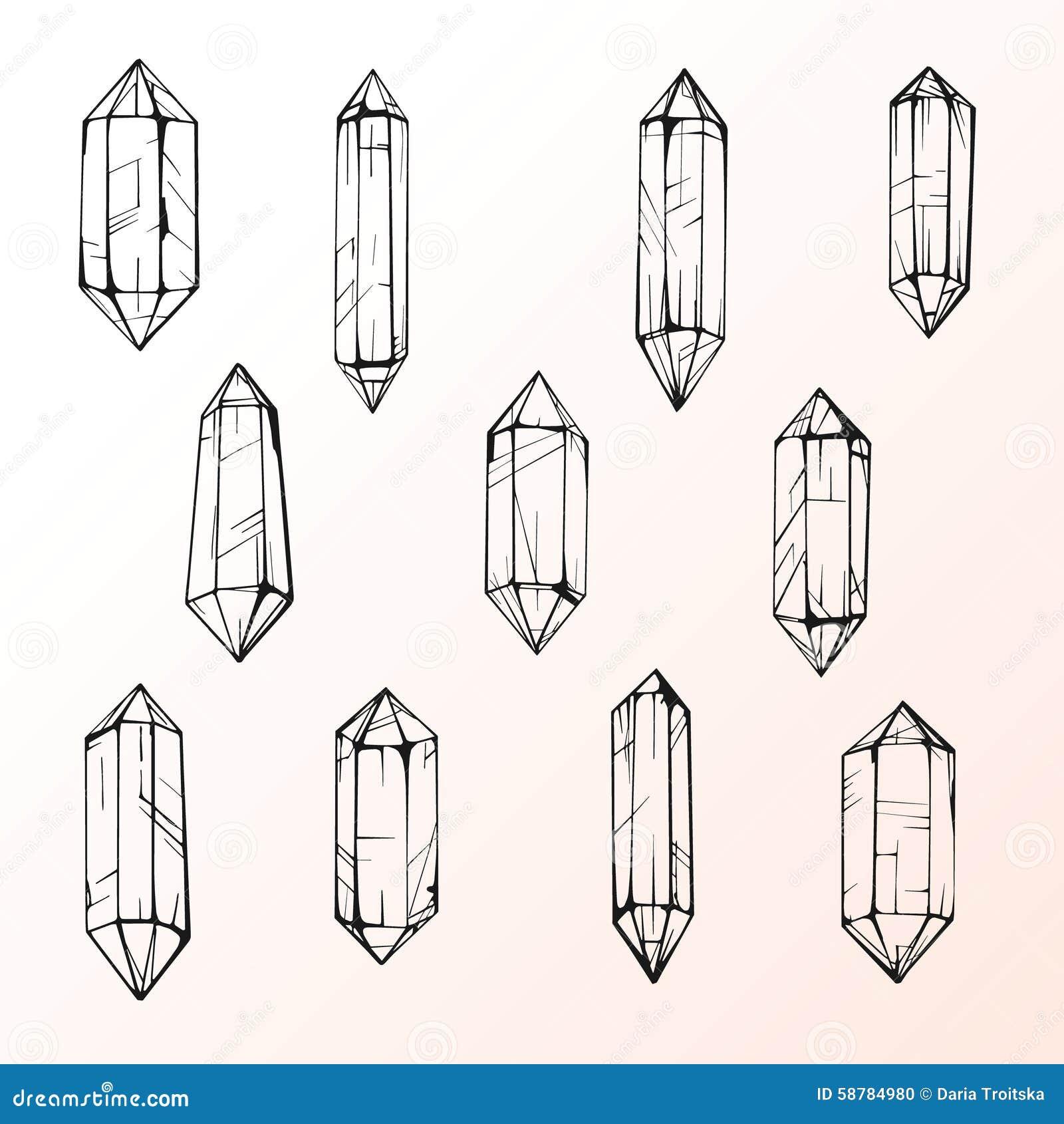 Set Of 11 Magic Crystal Gems Stock Vector