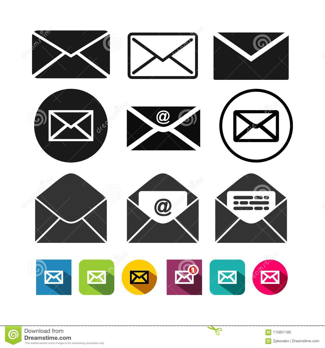 Set of mail icon, letter icon. Vector illustration. Isolated on white background
