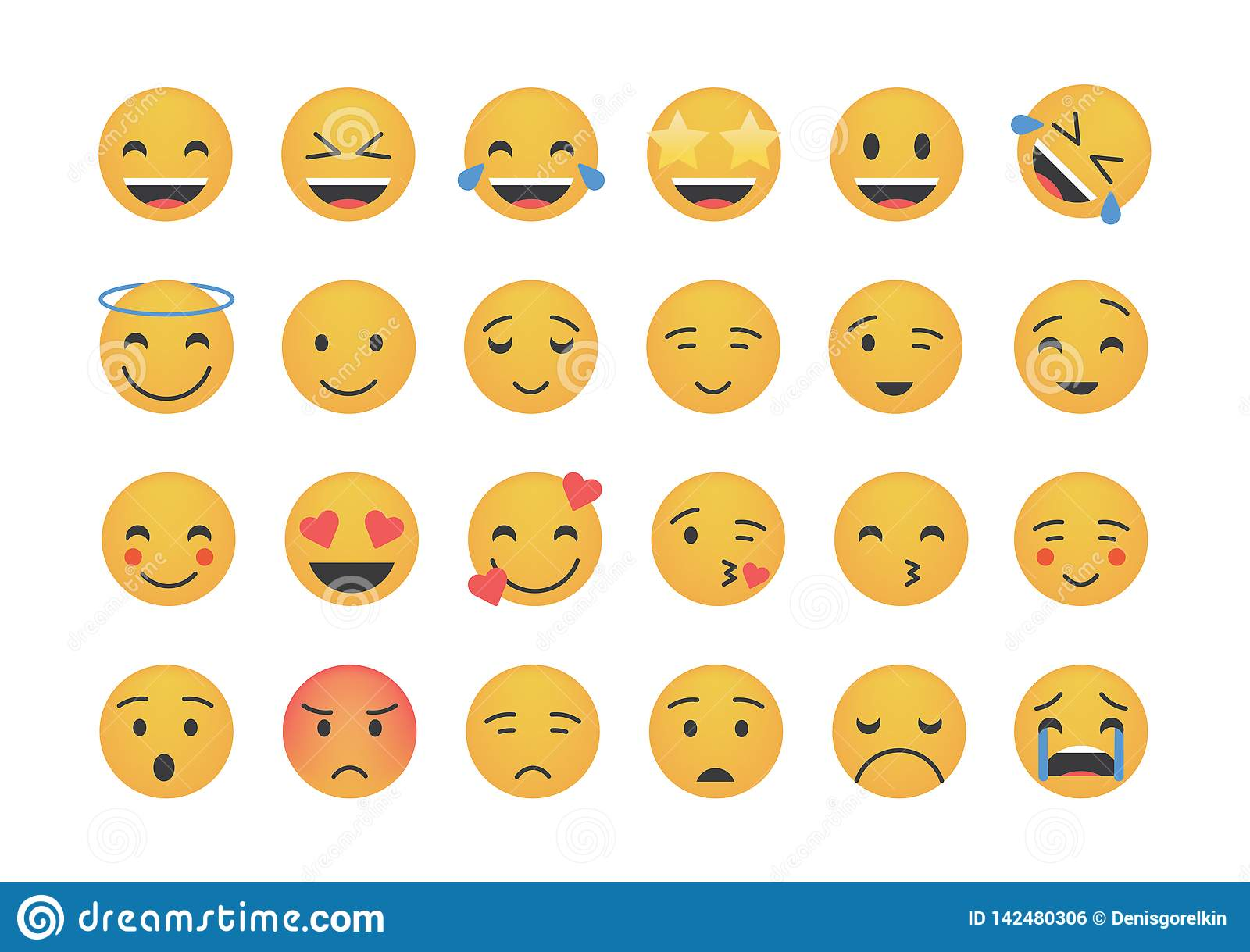 Set of main emoticon vector