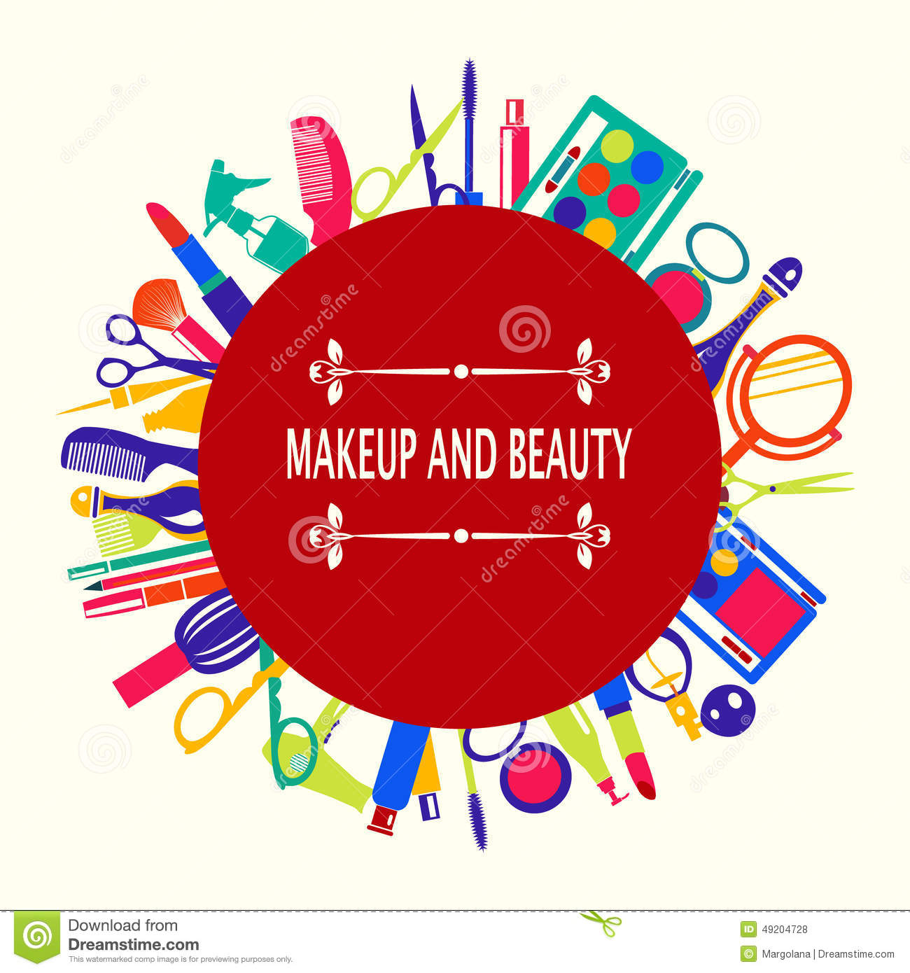 Vector pattern of MakeUp and beauty cosmetic Symbols background