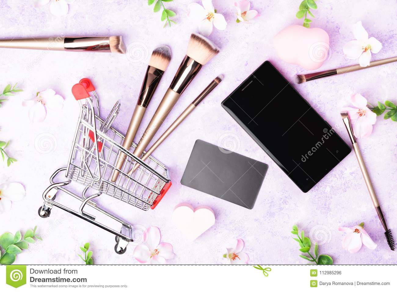 Set Of Makeup Brushes On Pink Background  Stock Photo