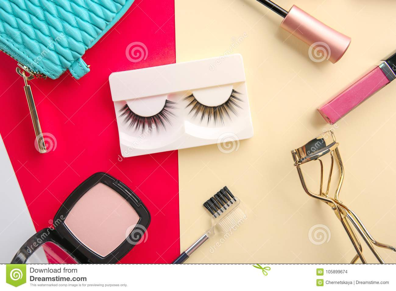 3a74971d7d5 Set For Makeup With False Eyelashes On Background Stock Photo ...