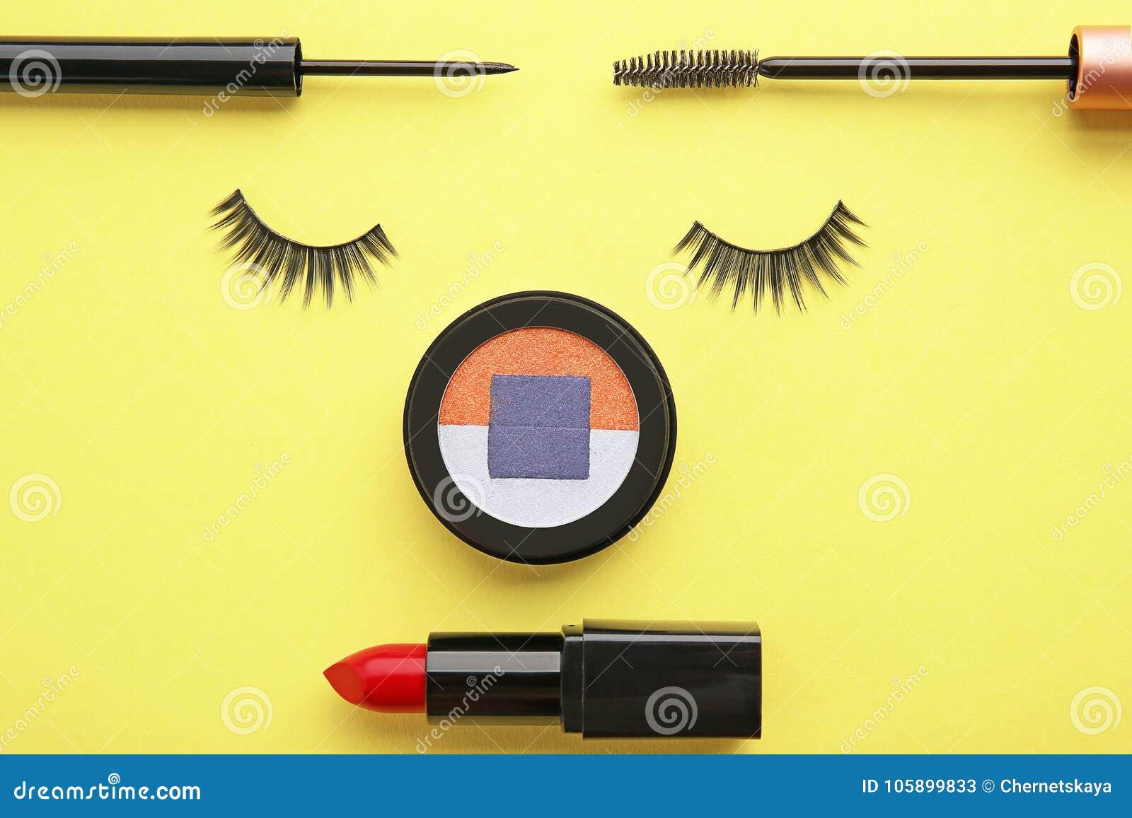 1e75812b2c5 Set For Makeup With False Eyelashes Stock Image - Image of false ...