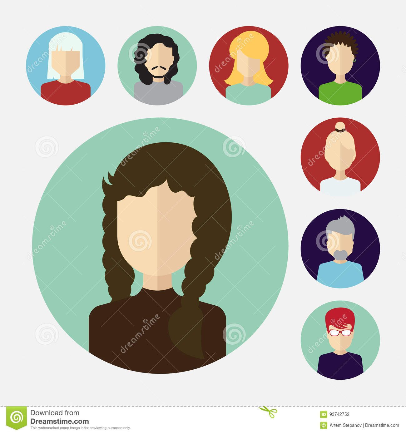 set of male and female faces avatars or people icon collection stock