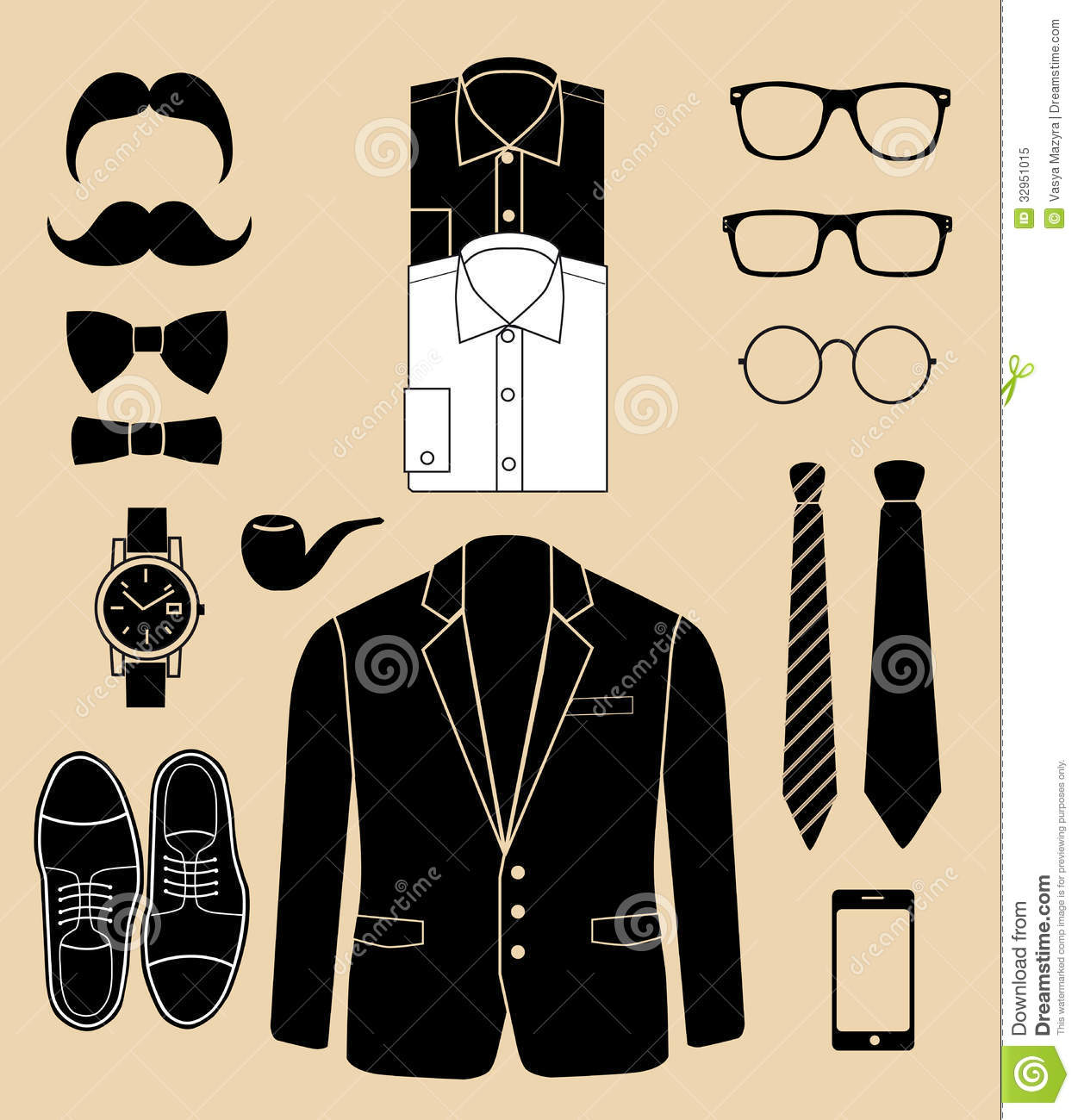 set of man fashion elements vector illustration stock