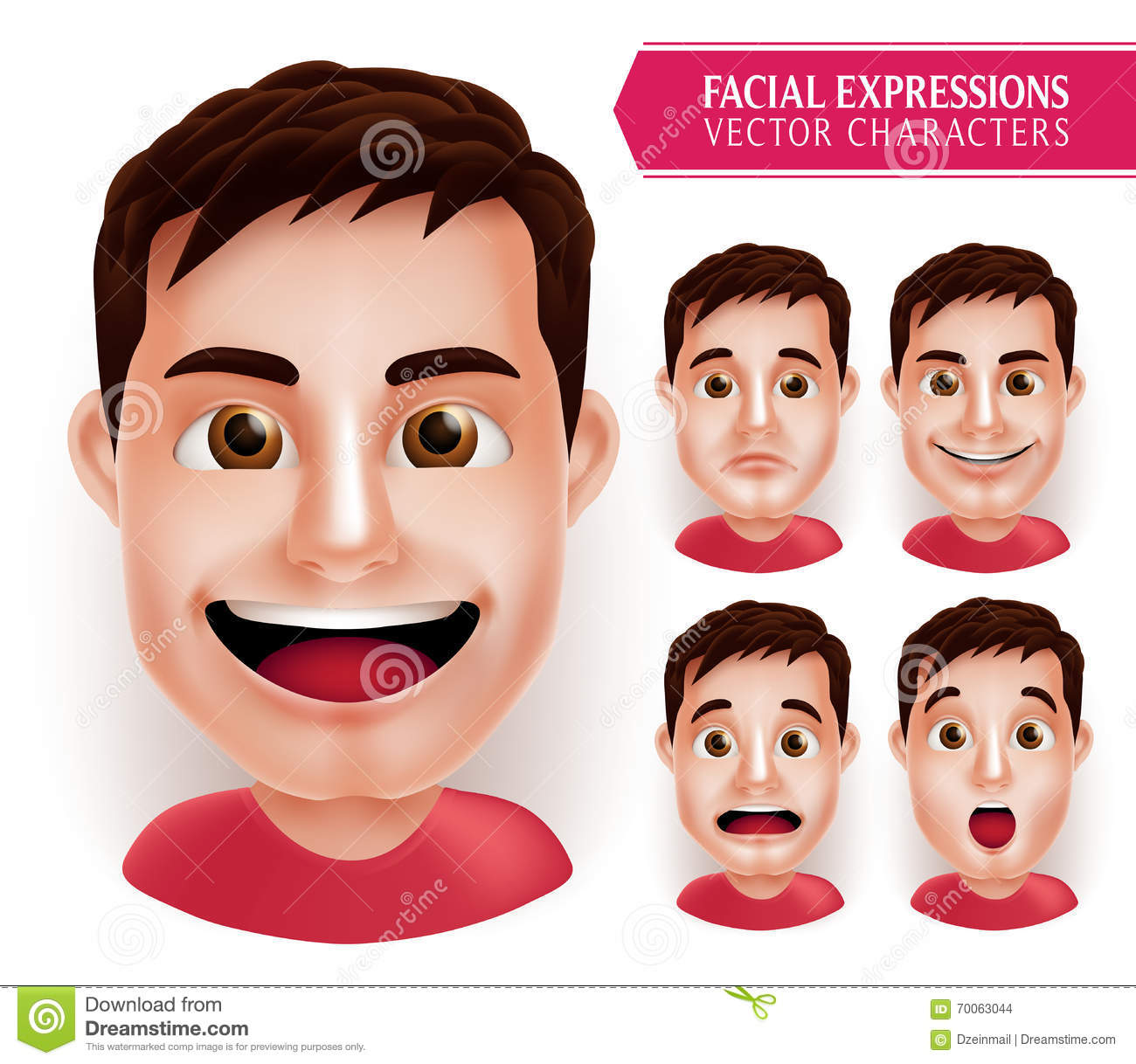 Set Man Head Emotions In 3D Realistic With Different