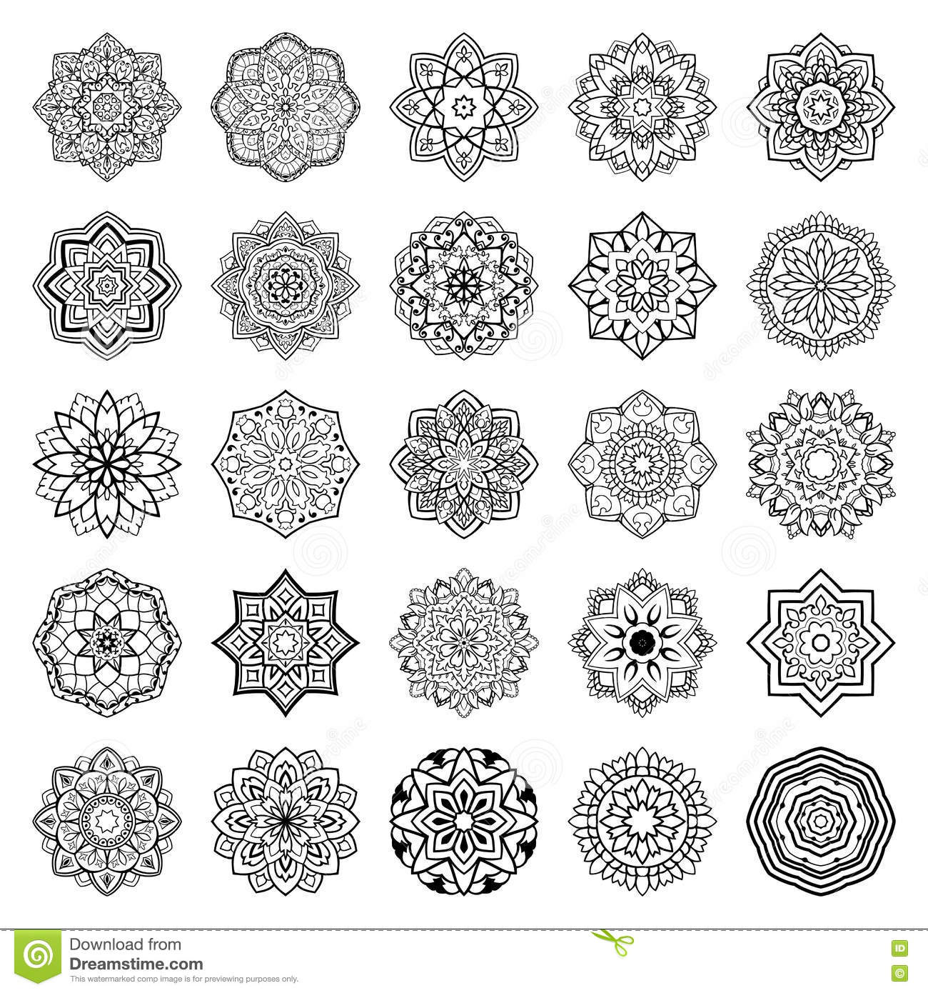 Set of mandalas. stock vector. Illustration of medieval - 76760126