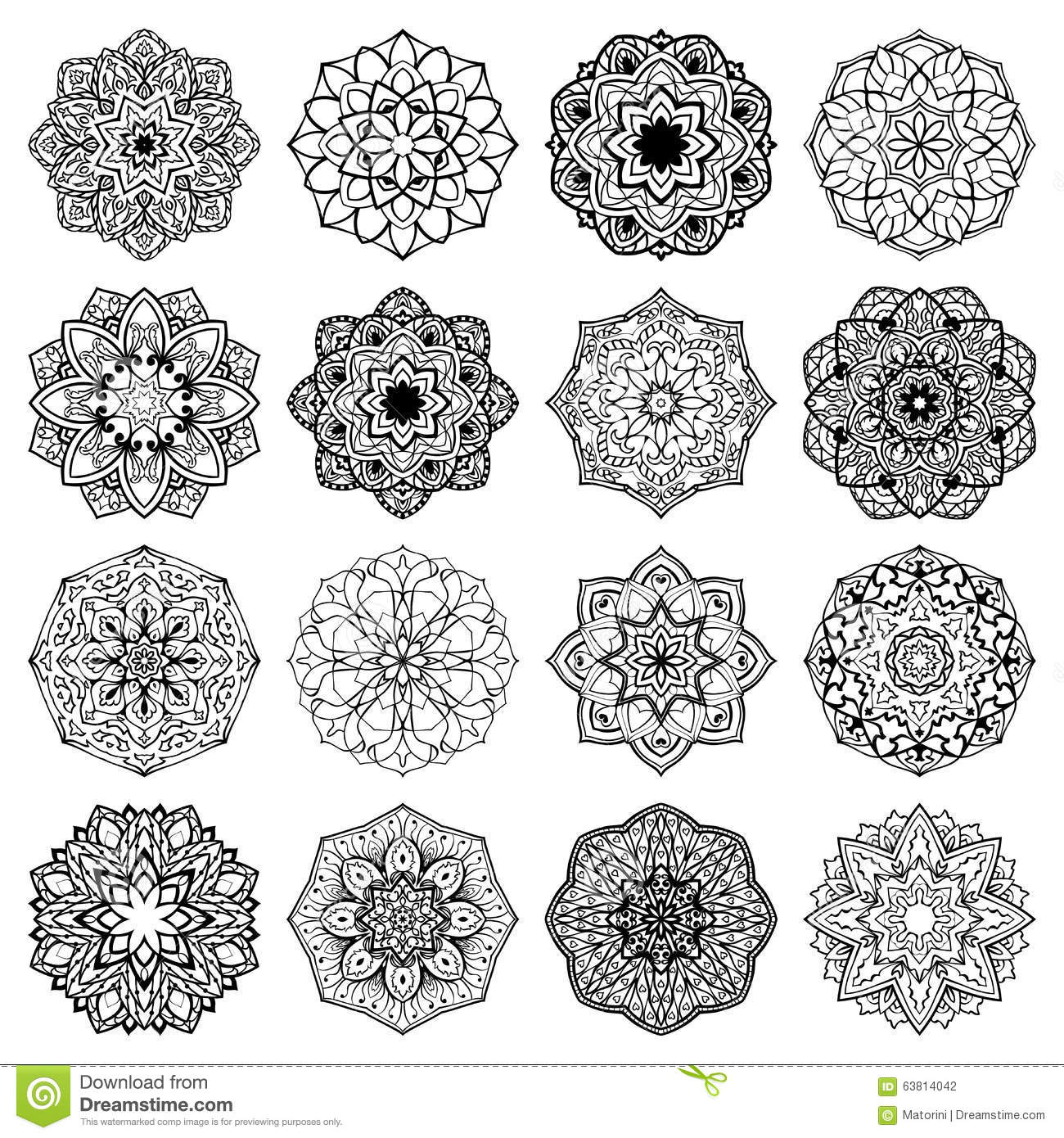 Set of mandalas. stock vector. Illustration of decoration - 63814042