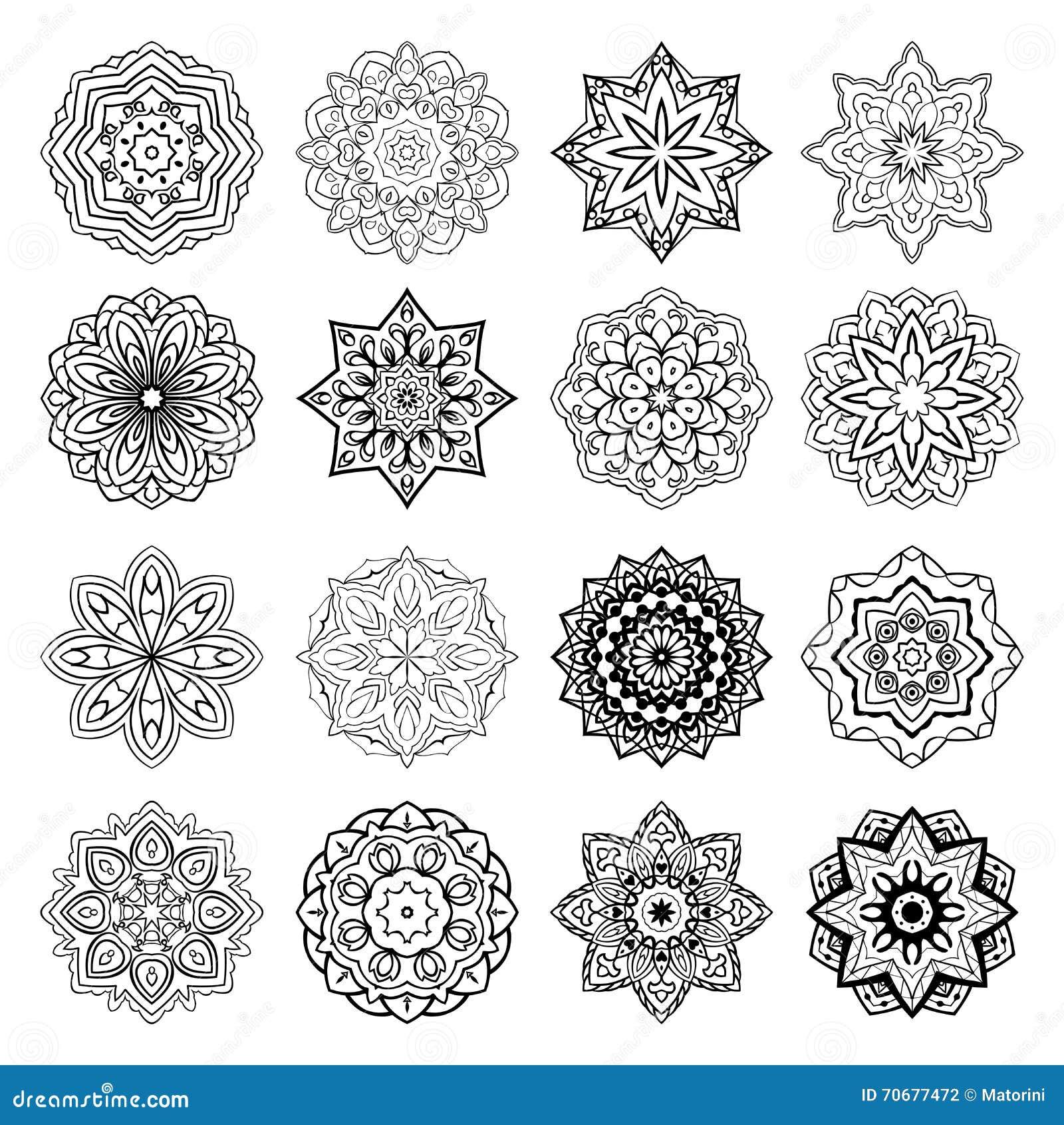 Set of mandalas. stock vector. Illustration of decoration - 70677472