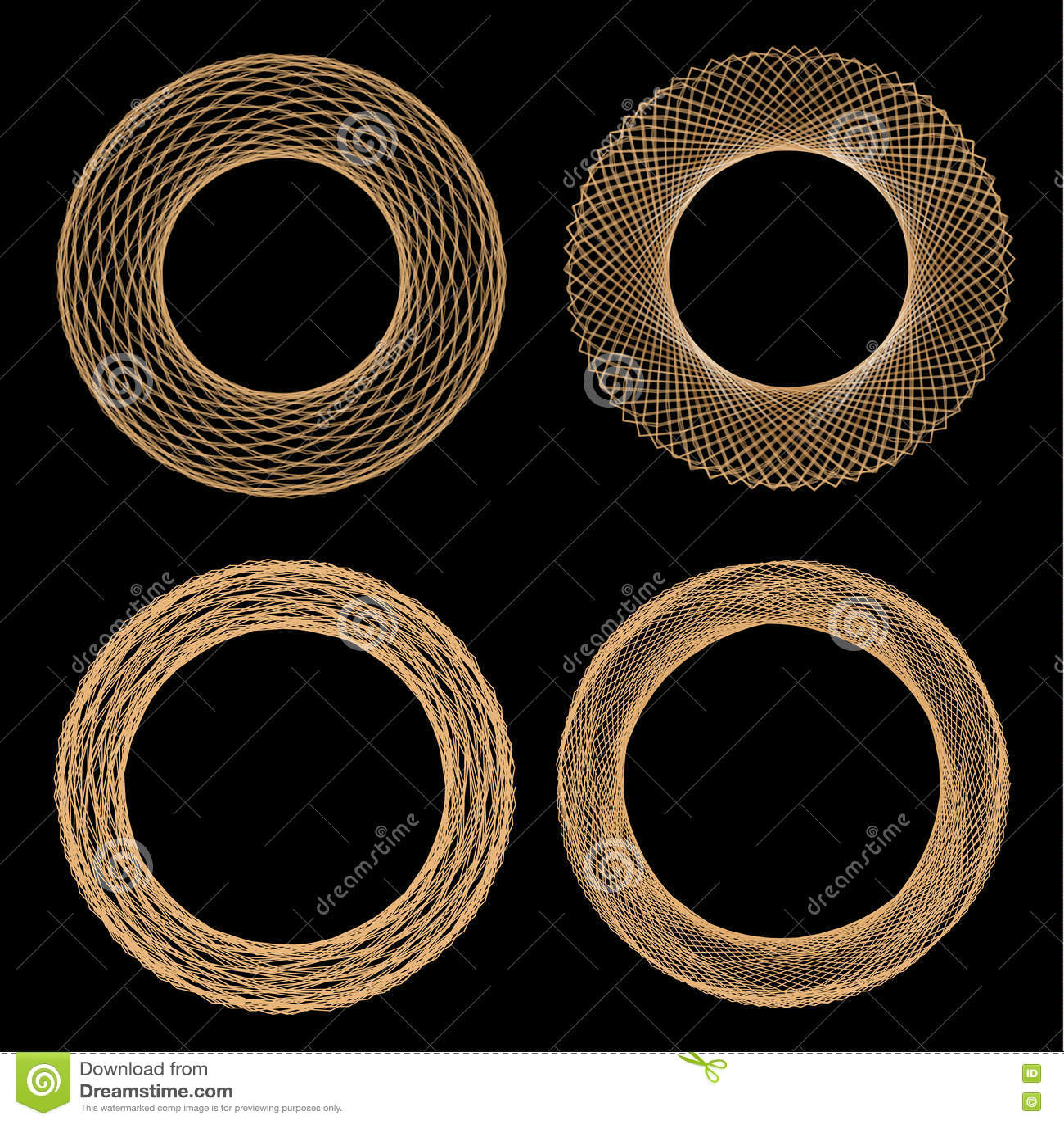 Set of mandalas. The ornament, a circular geometric pattern, spirogram.