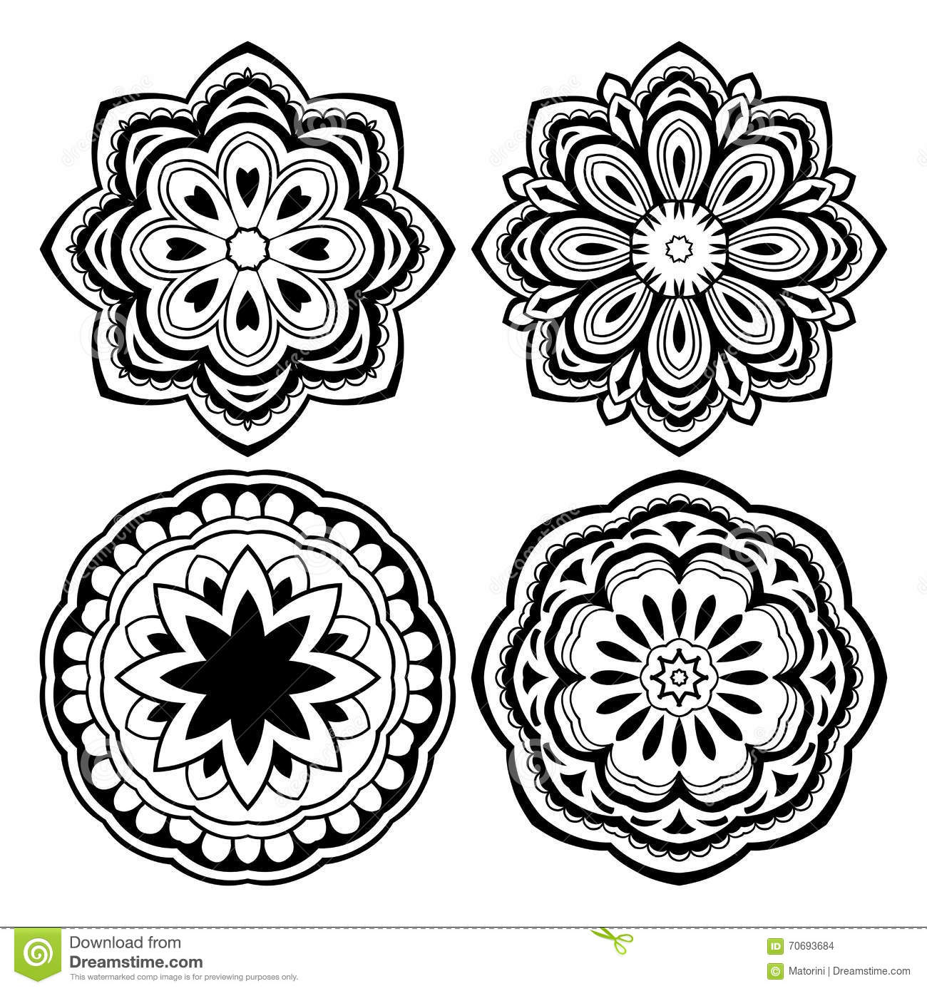 Set of mandalas. stock vector. Illustration of black - 70693684