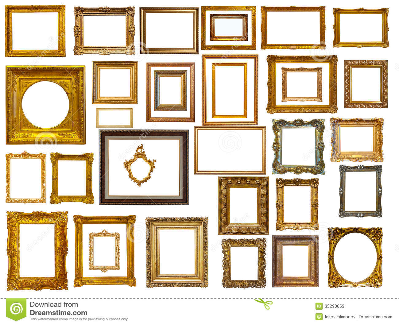 Set Of Many Gold Frames Isolated Over White Stock Image