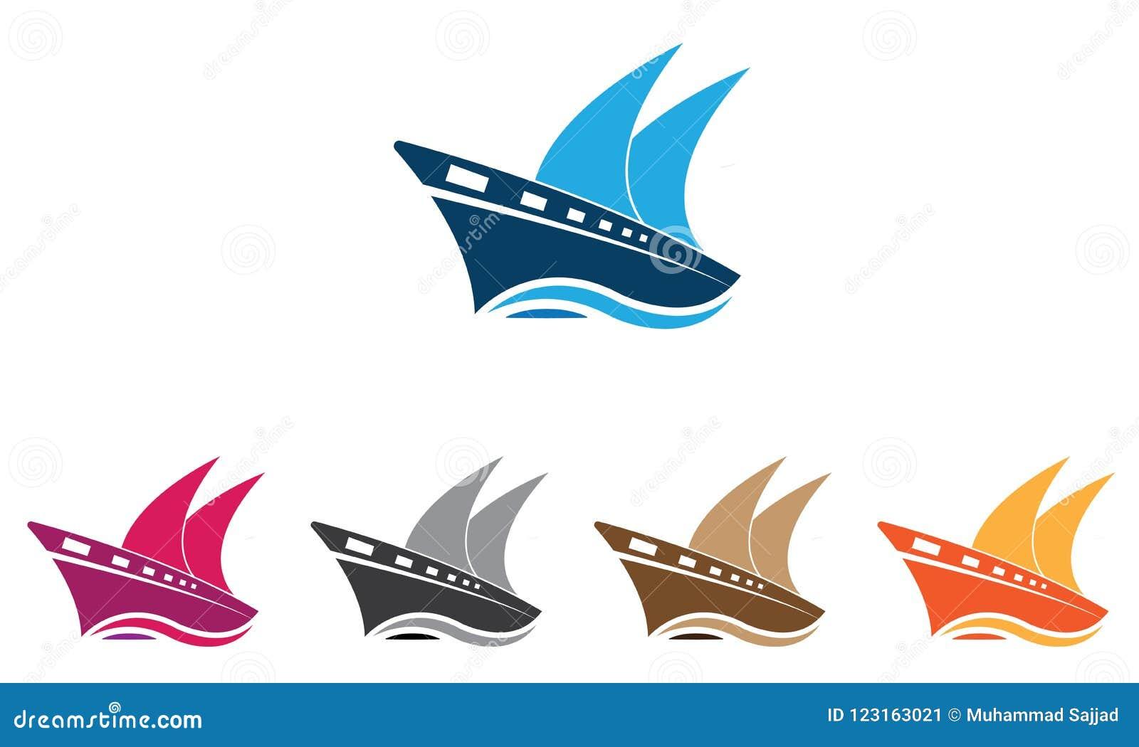 Collection Ship Logo Template - Sailing Boat Logo Template - Ocean Marine Ship Vector