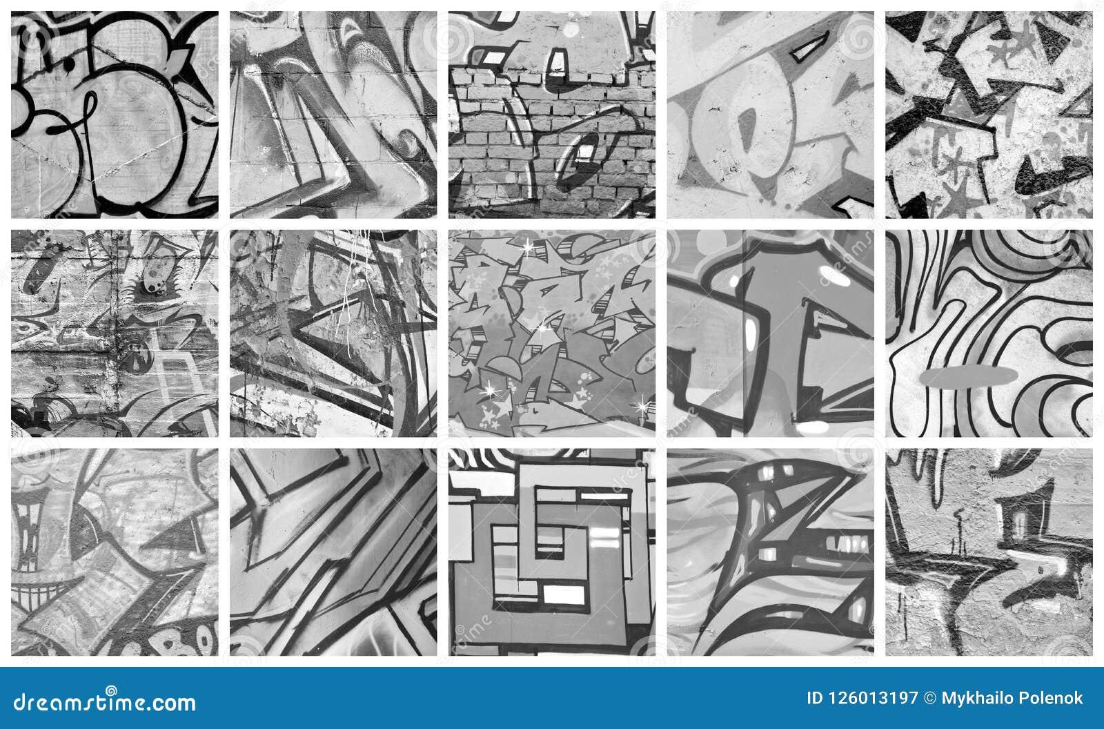 A set of many small fragments of tagged walls graffiti vandalis