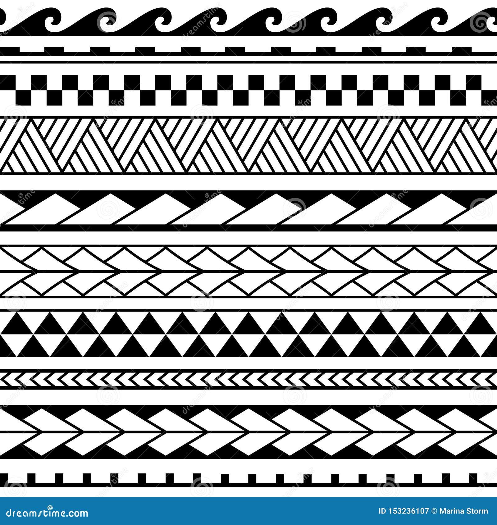 Set maoryjski ornament bransoletek tatuaż Wektorowy etniczny horyzontalny bezszwowy wzór