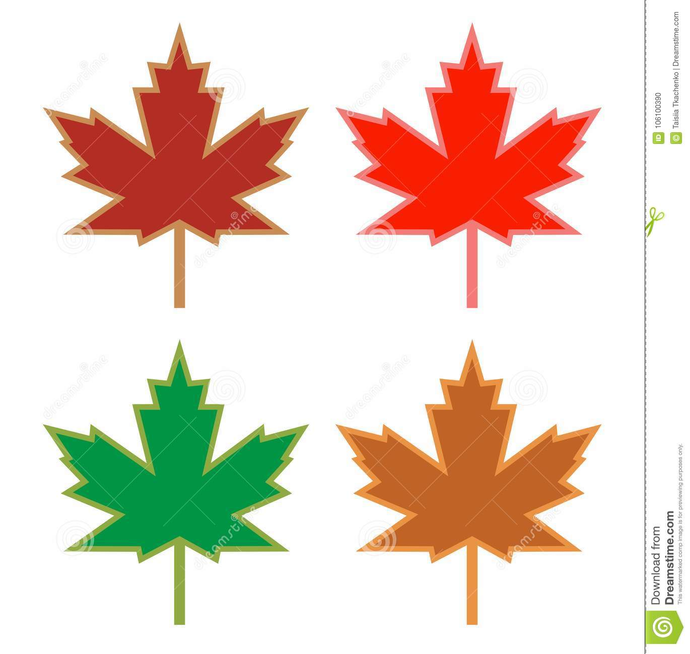 set of maple leaves icons in different colors hand drawn