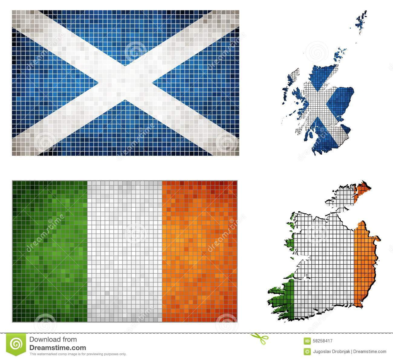 set of maps and flags of ireland and scotland stock vector image