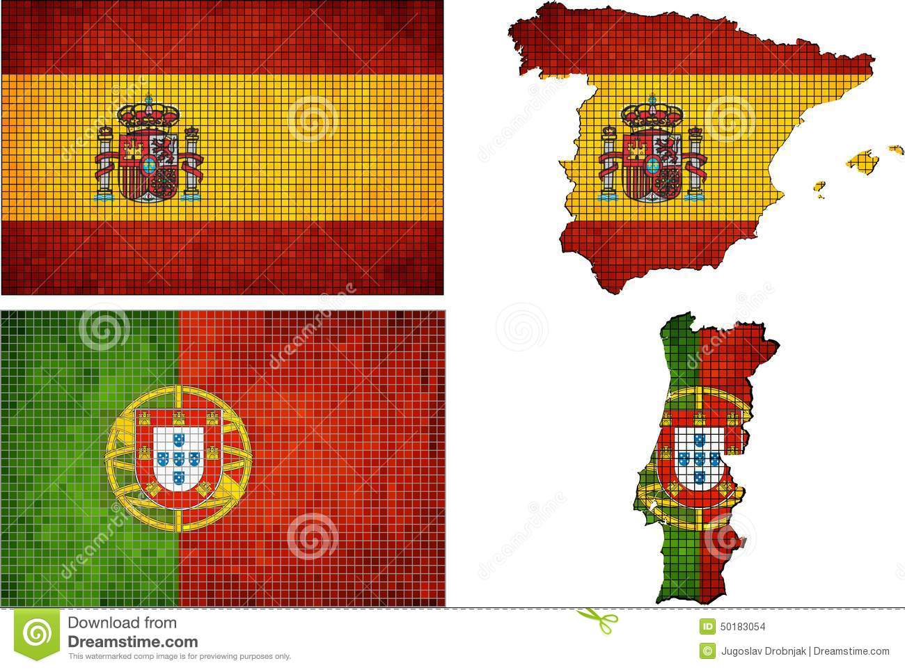 set of maps and flags of spain and portugal stock vector image