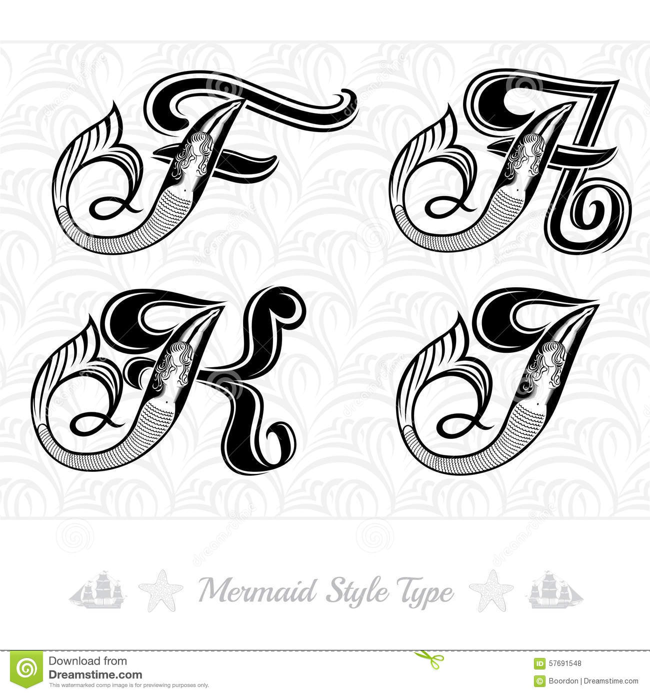 Set Of Marine Capital Letter With Swiming Mermaid