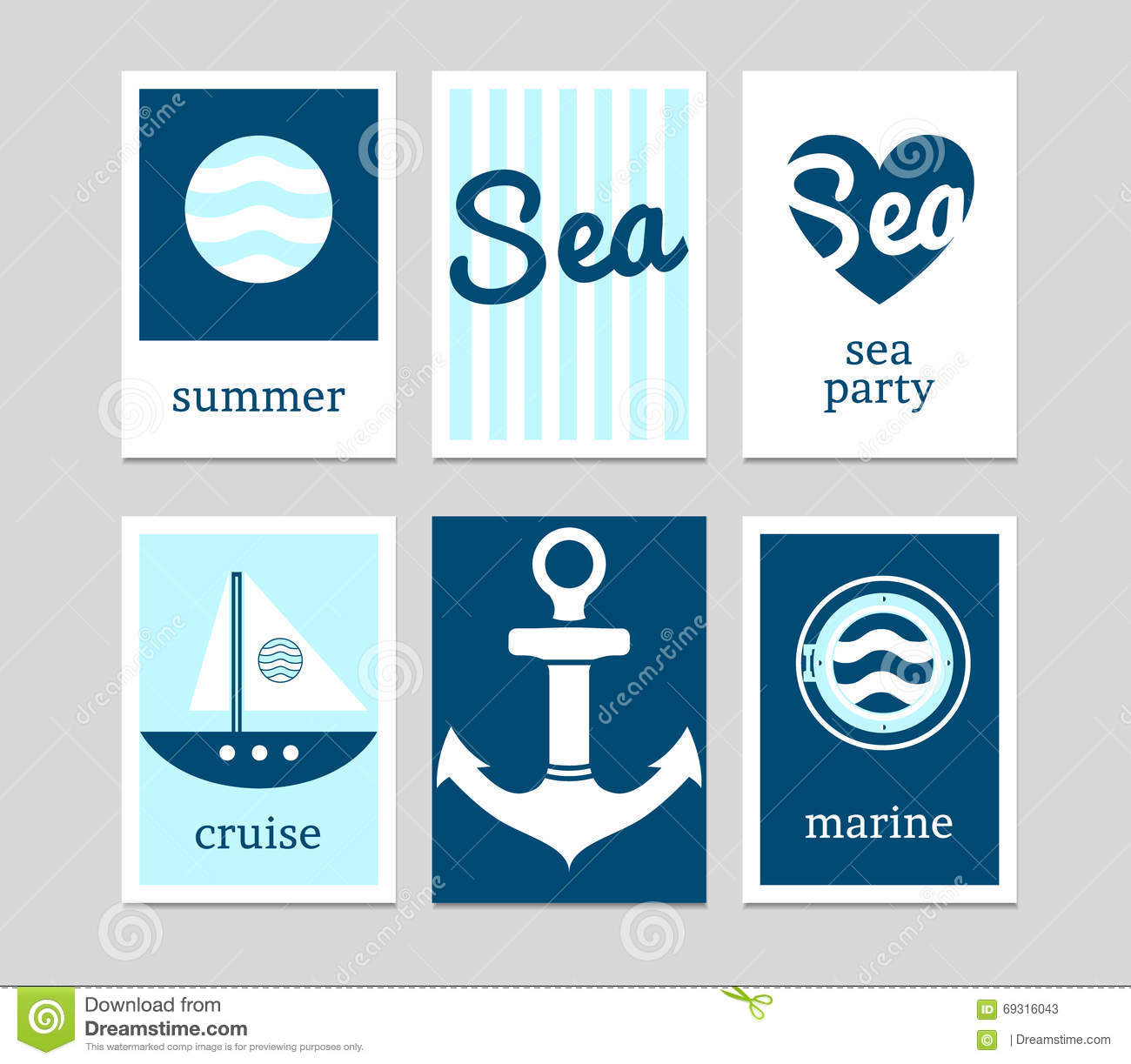 Set of marine cards stock vector. Illustration of diver - 69316043
