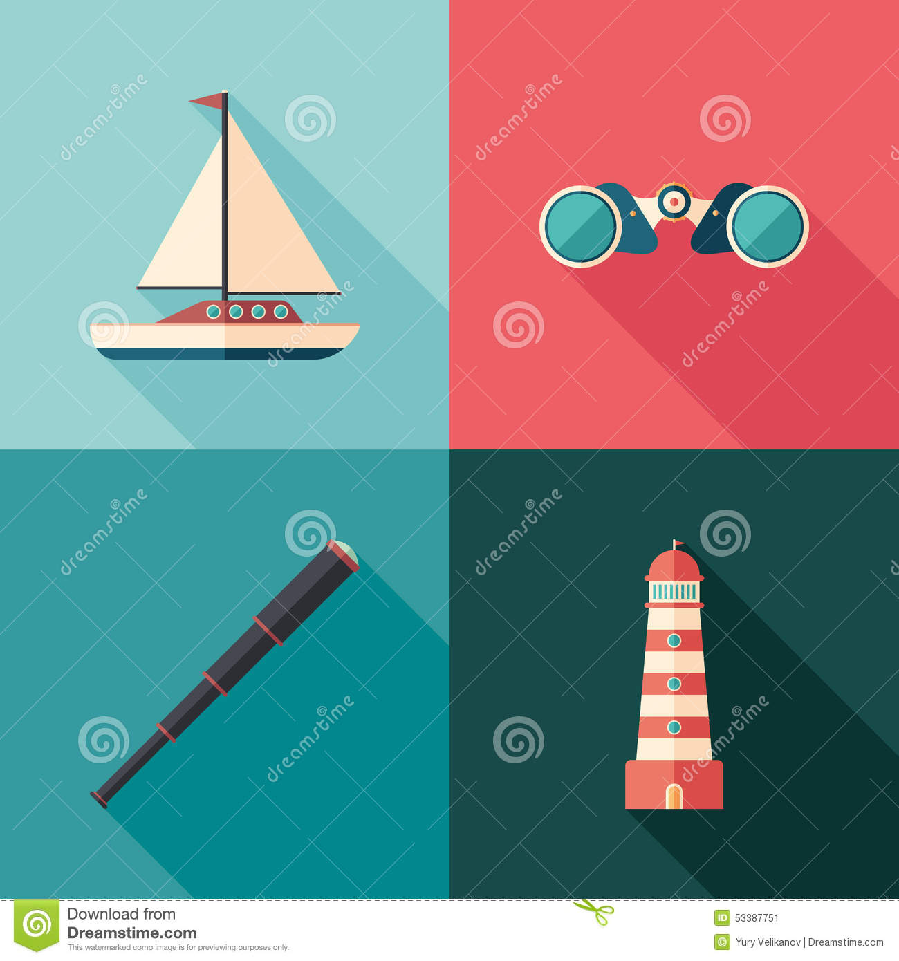 Set of marine flat square icons with long shadows.