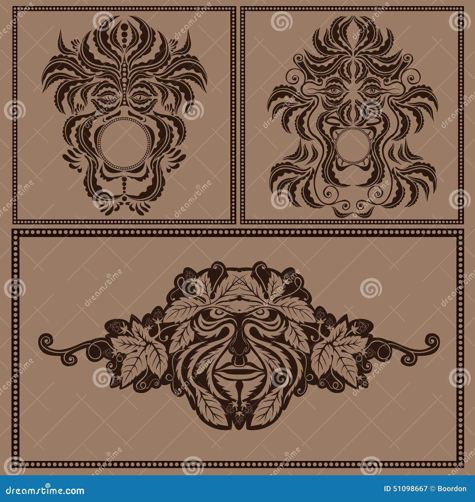 Set mask face forest spirit god or devil silhouette