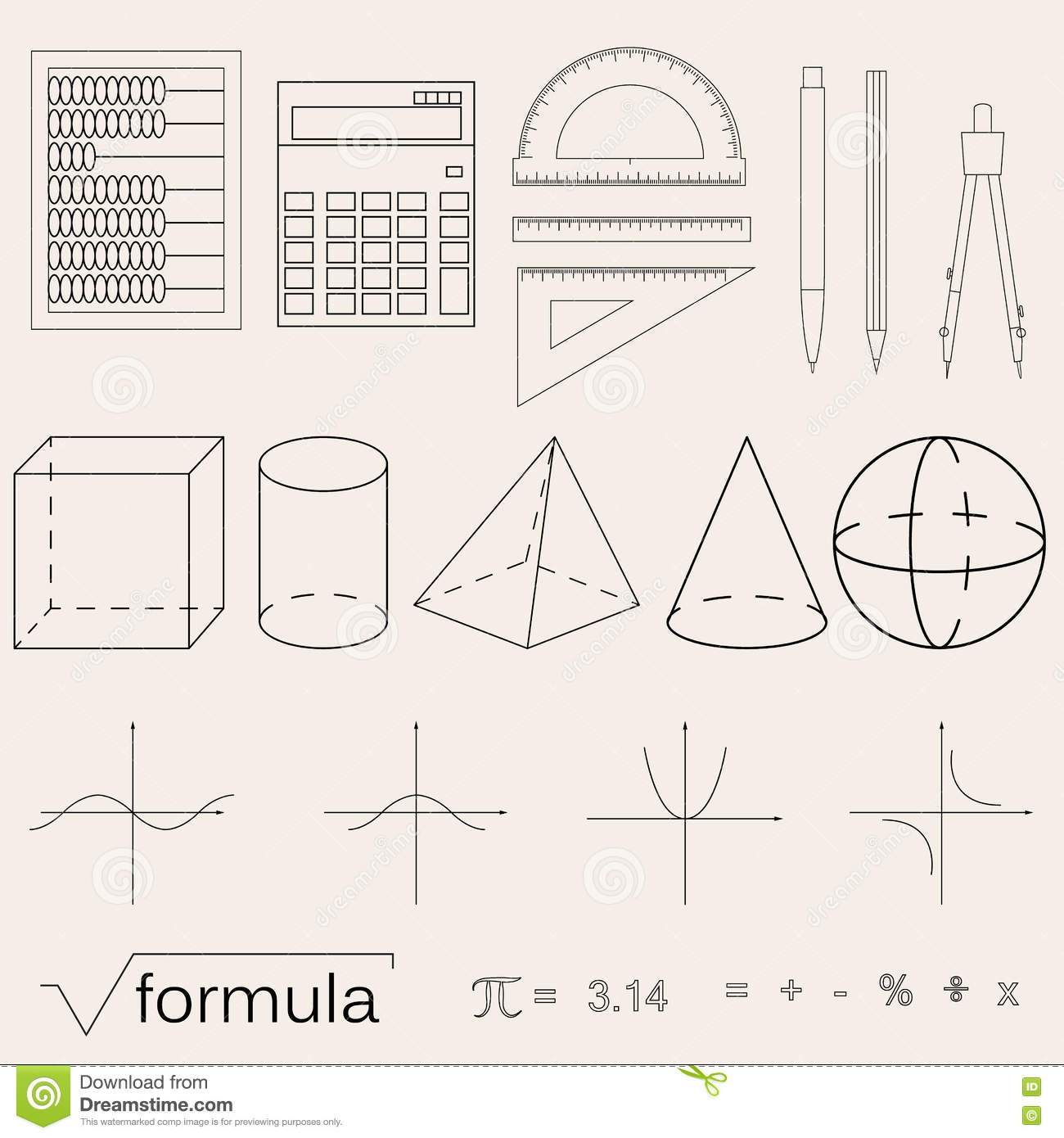 Set Of Math Icons. Linear Style. Knowledge Of Math And Geometry ...