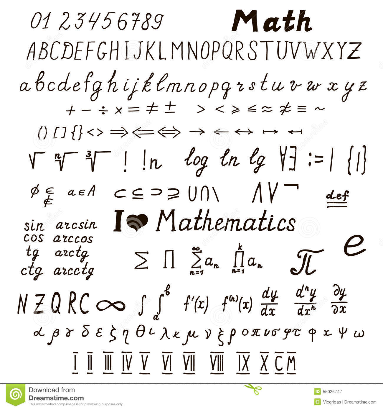 Set Of Mathematical Signs And Symbols Stock Vector Image