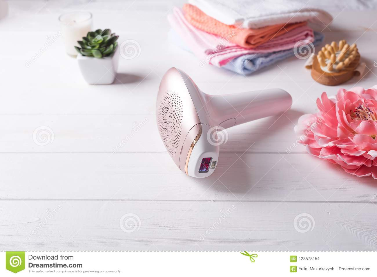 Set Of Means Of Hair Removal. Modern Epilators In Bathroom On A ...