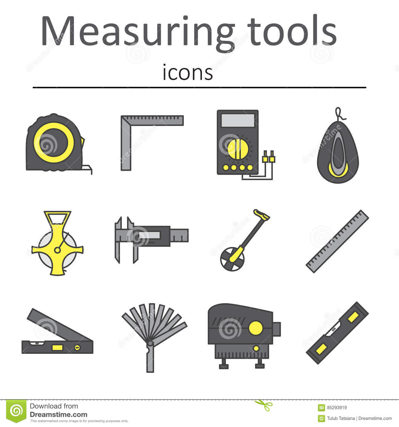 Used Measuring Instruments : A set of measuring instruments used in construction to
