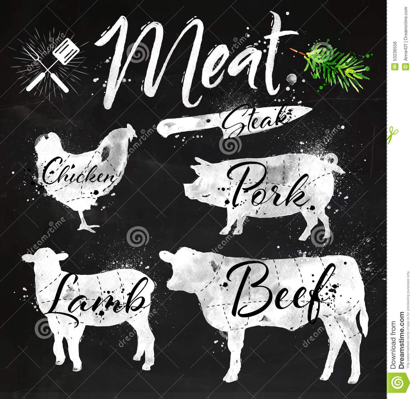 Set Meat Silhouettes Chalk Stock Vector Image 53236558