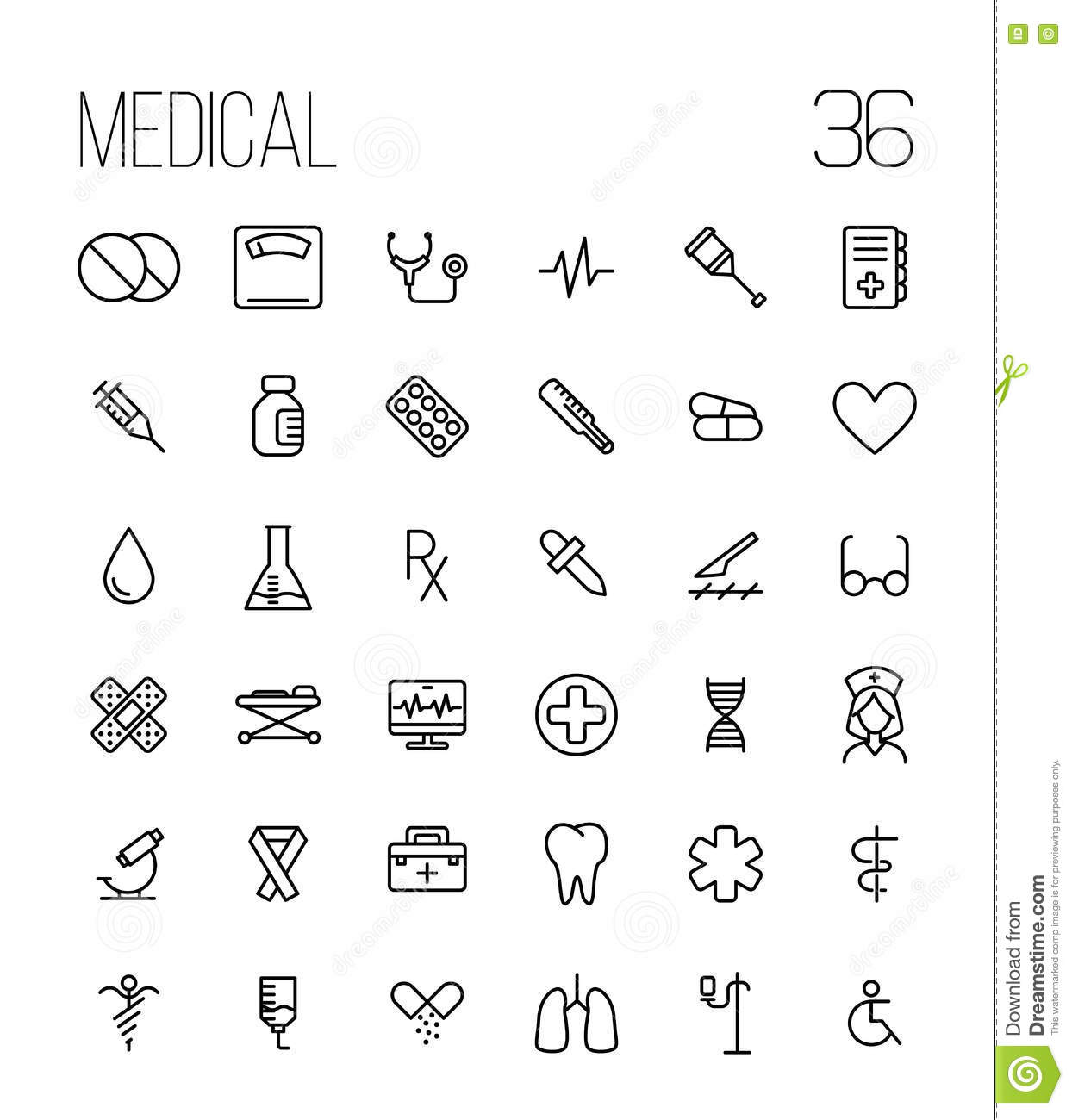 Set Of Medical Icons In Modern Thin Line Stock Vector Illustration