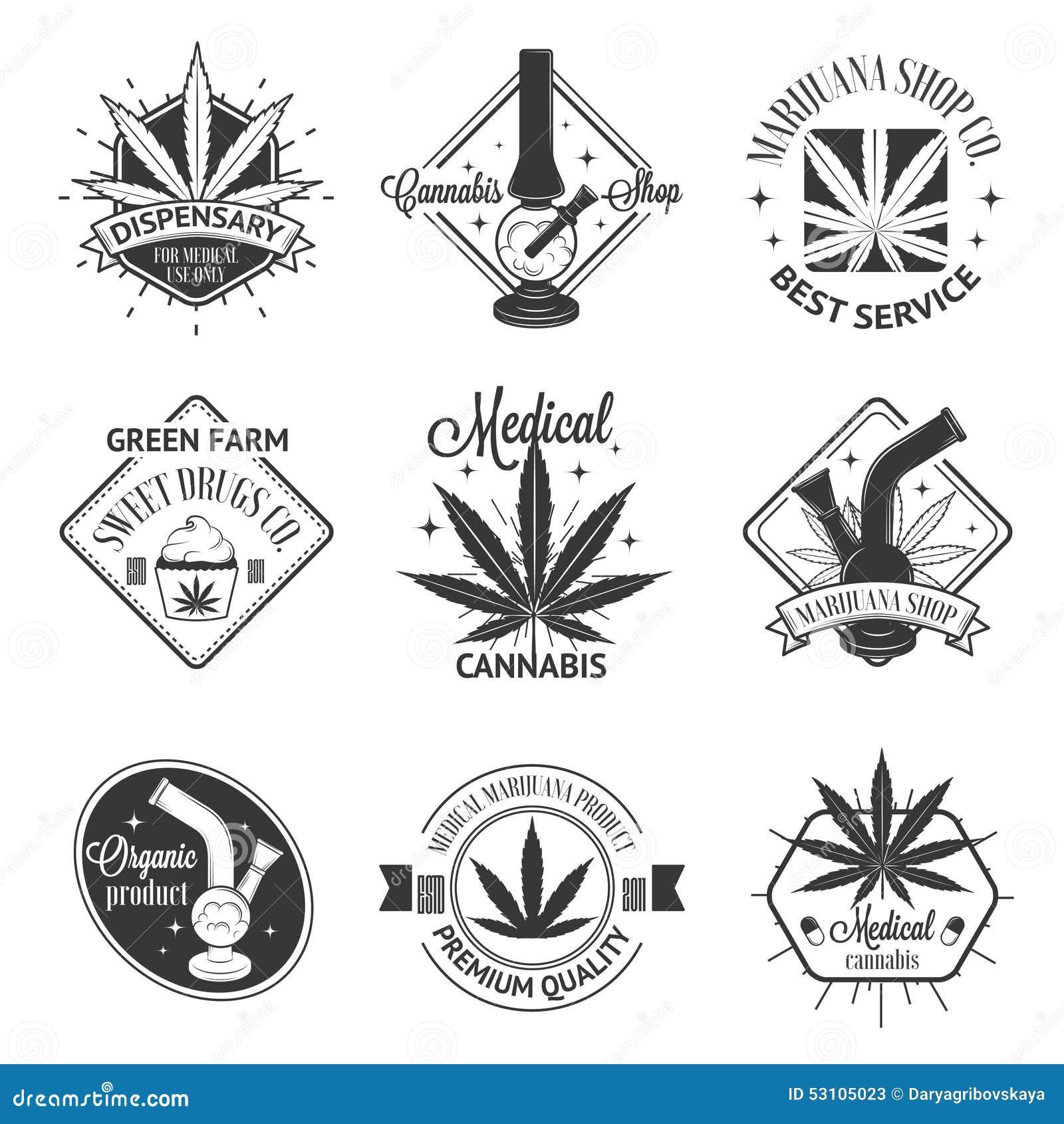Set Of Medical Marijuana Logos Cannabis Badges Stock Vector
