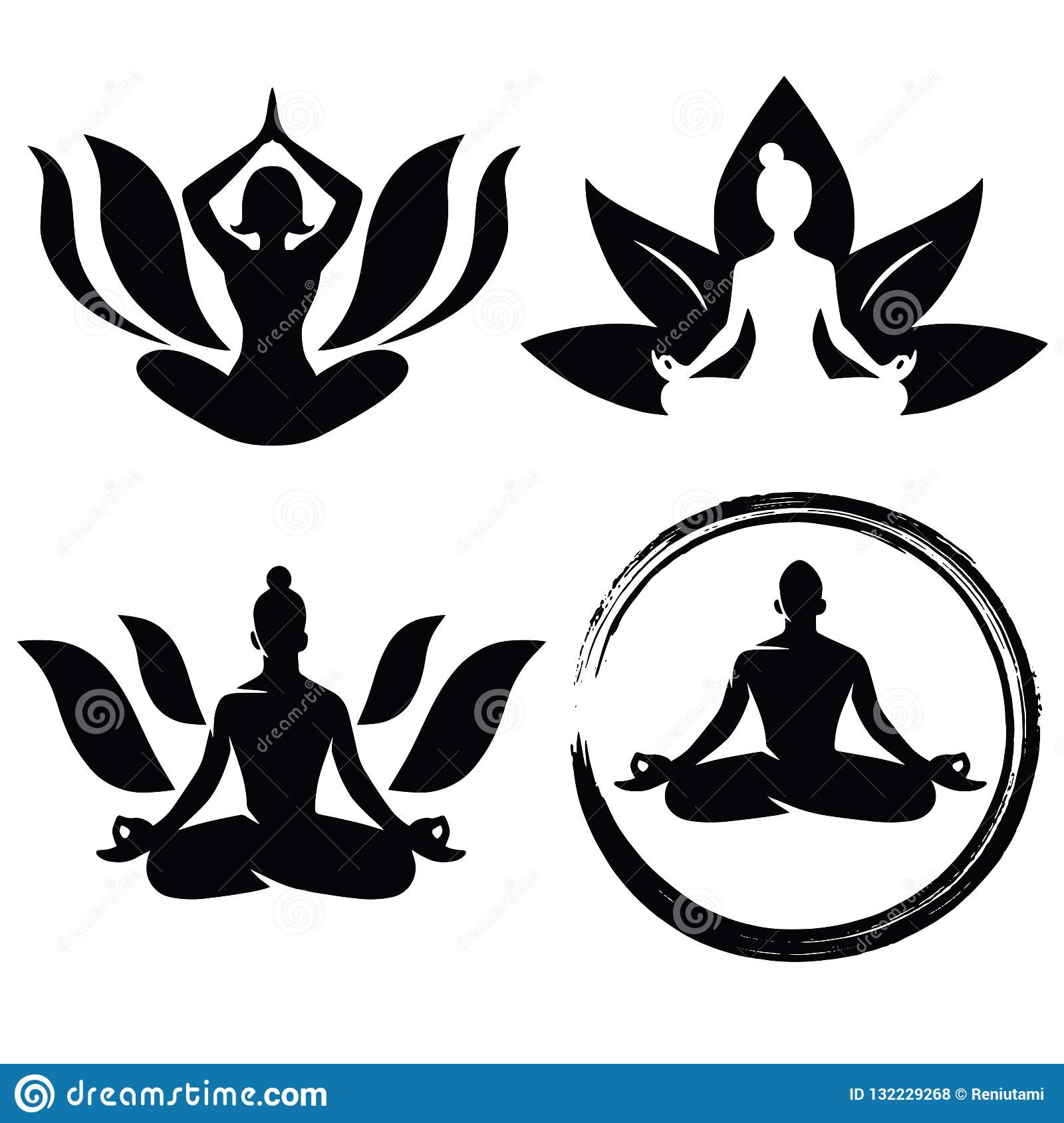 Set Of Meditation Yoga Logo Design Vector Stock Vector Illustration Of Asian China 132229268