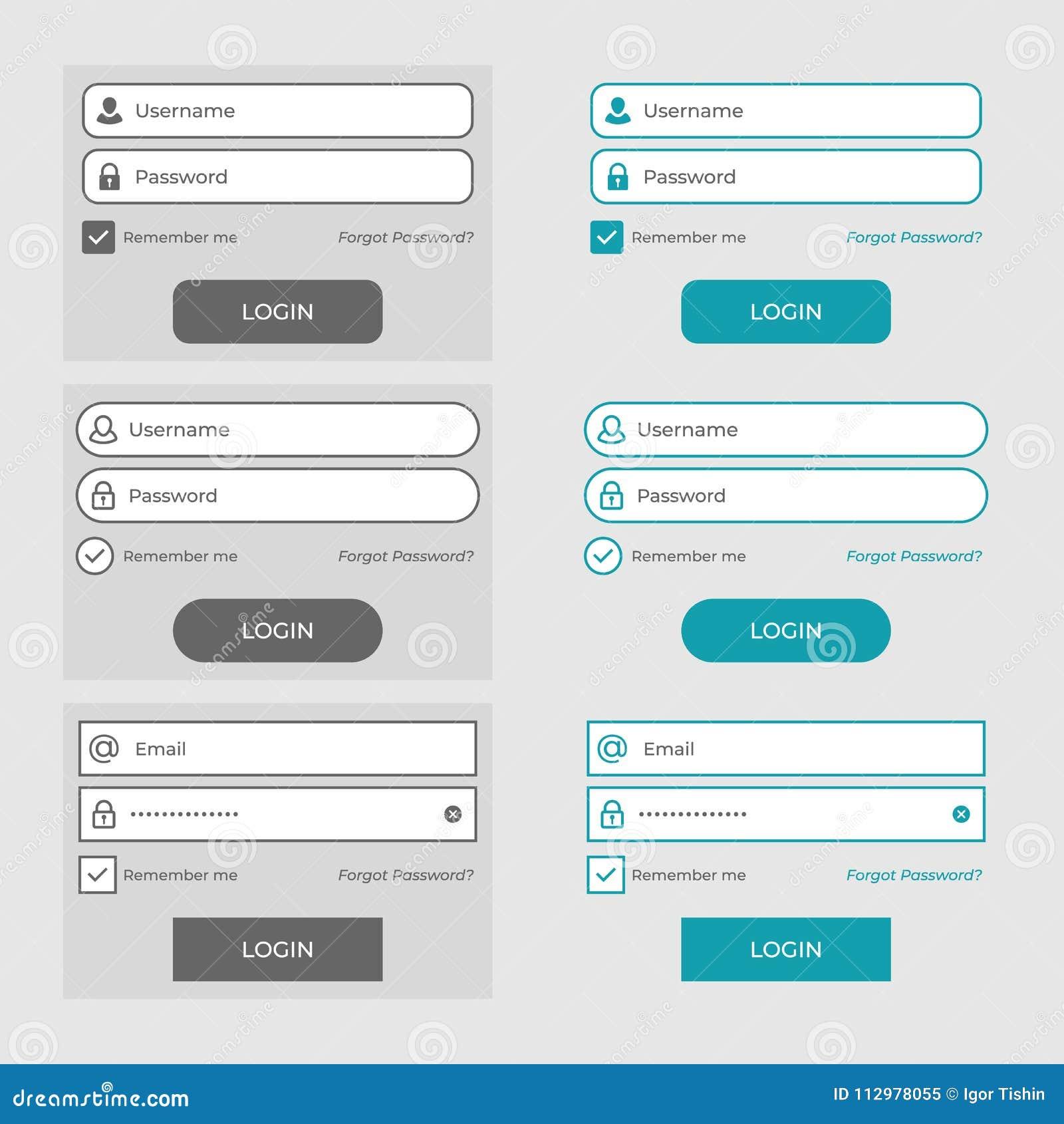 Set of member login page design elements. vector illustration