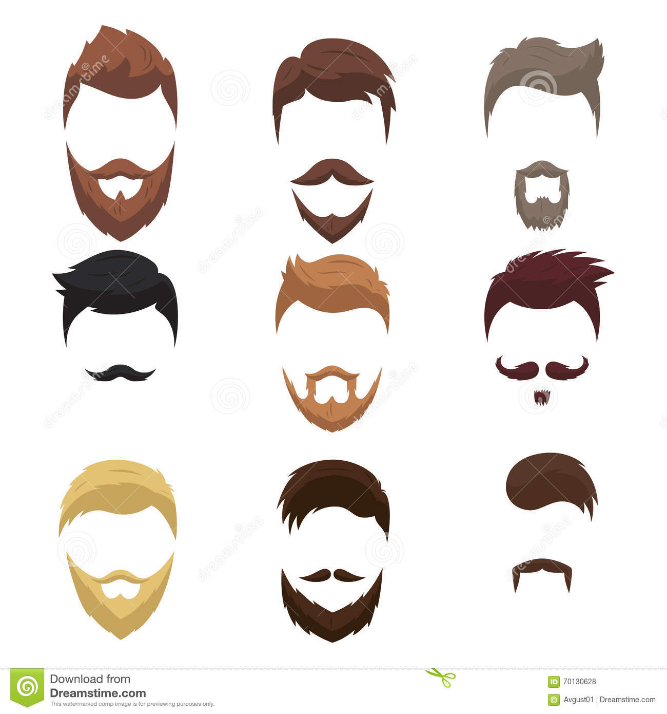 Set Of Men Cartoon Hairstyles With Beards And Moustache