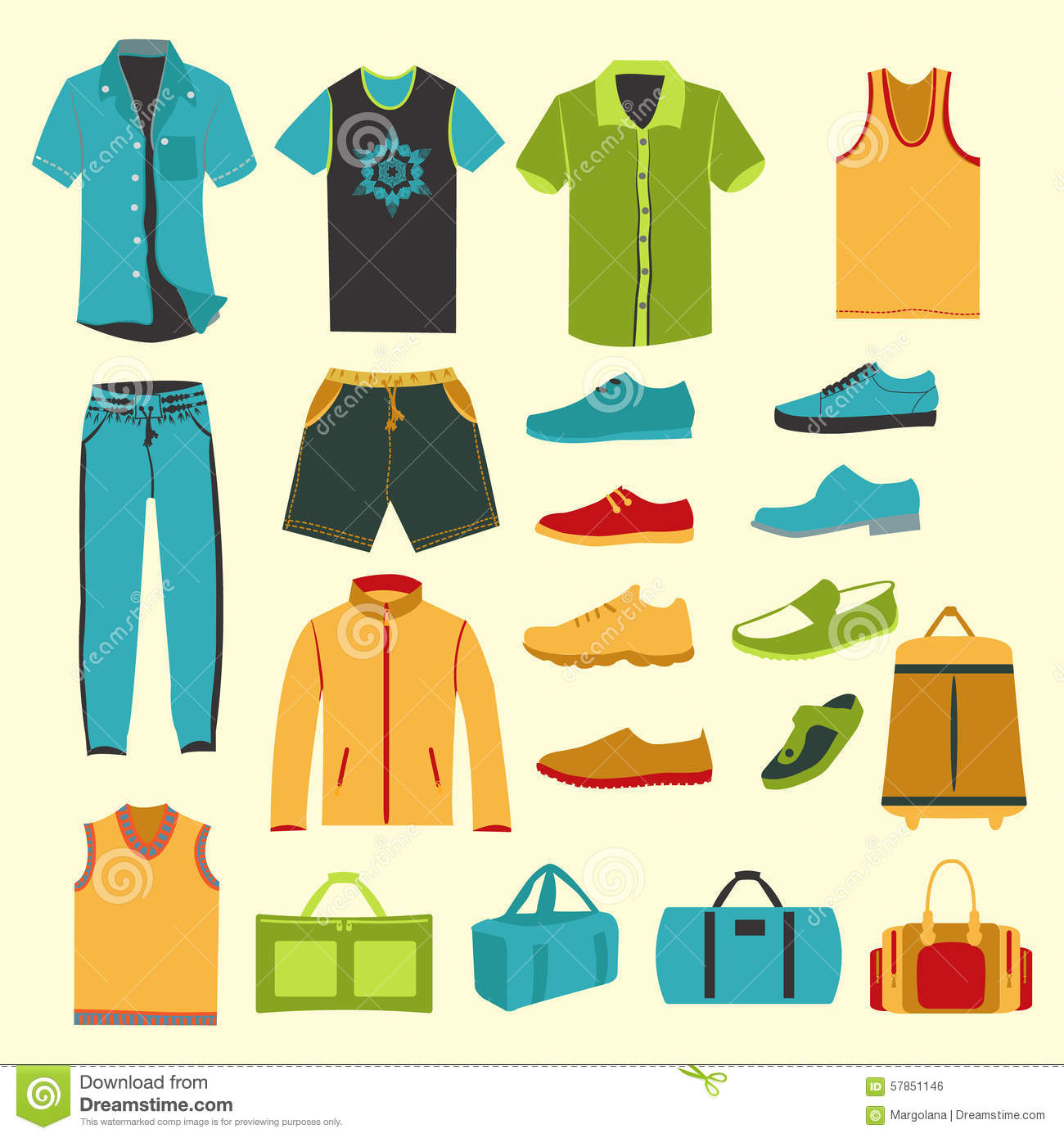 Set Of Men Clothes And Accessories Icons Stock Vector ...