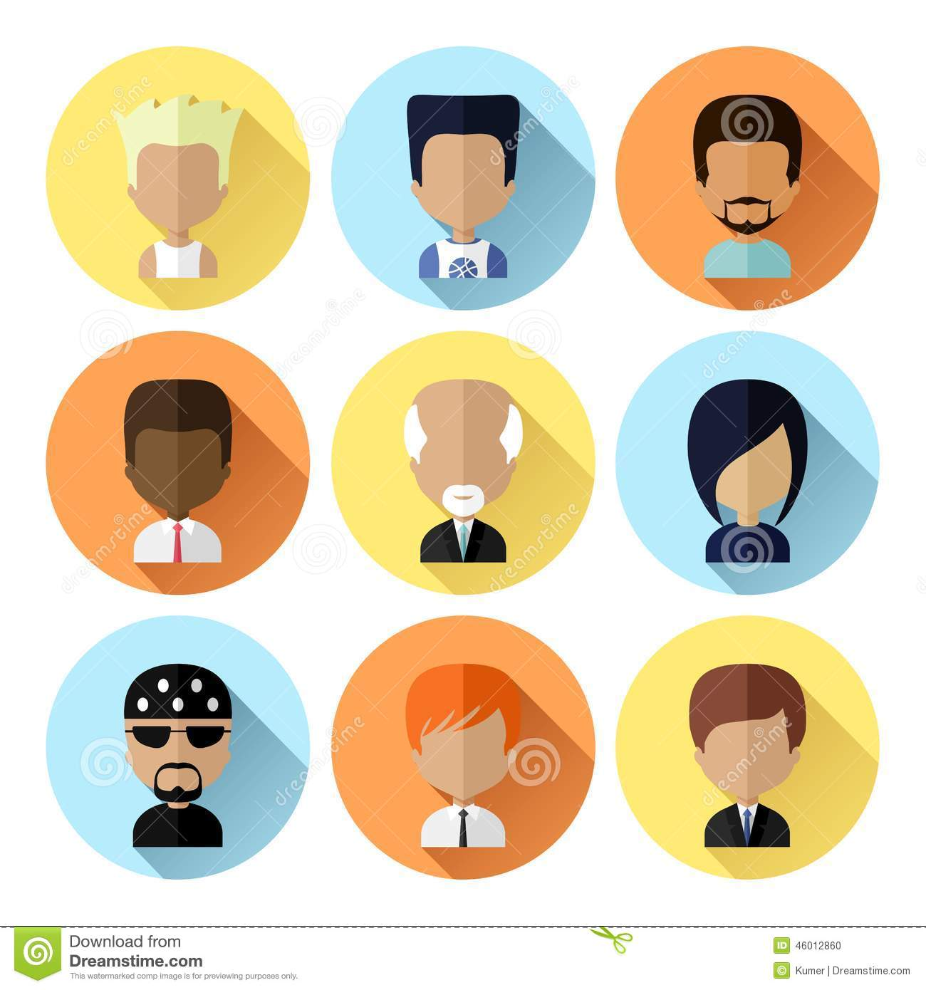Set Of Men Faces Icons In Flat Design Stock Vector