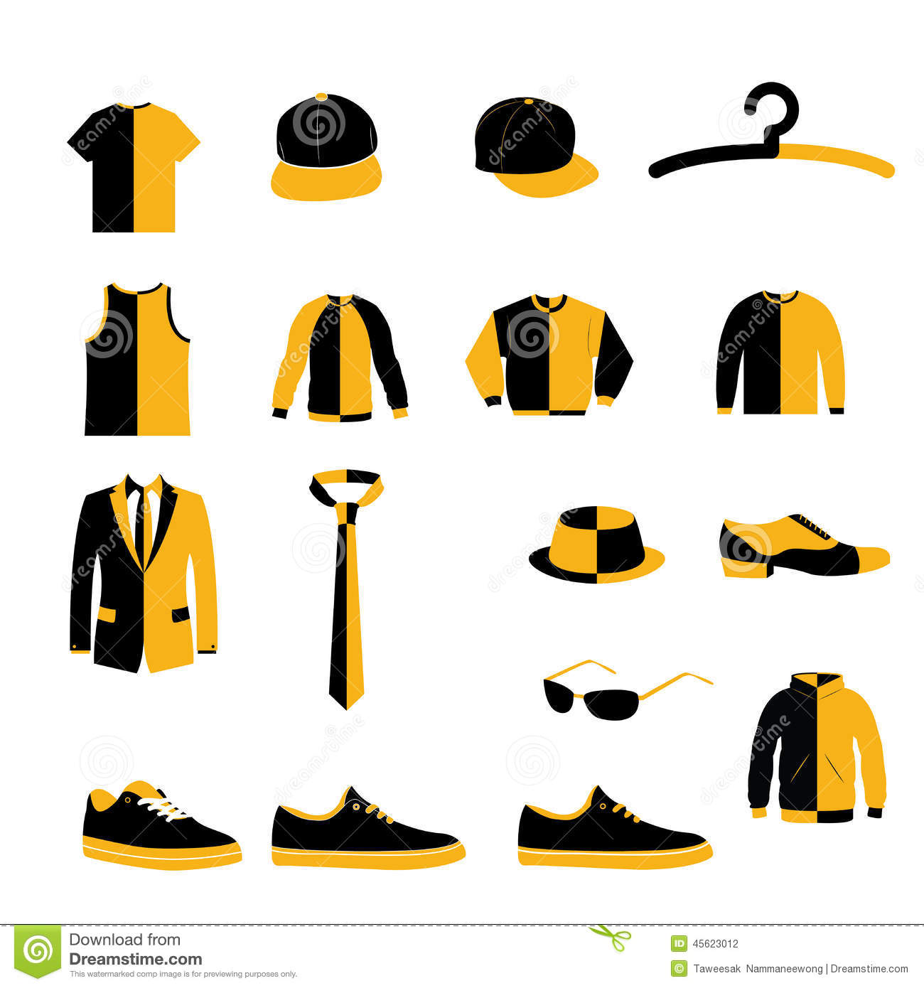 Set Of Men Fashion Clothing And Accessories Design Vector And Icon ...