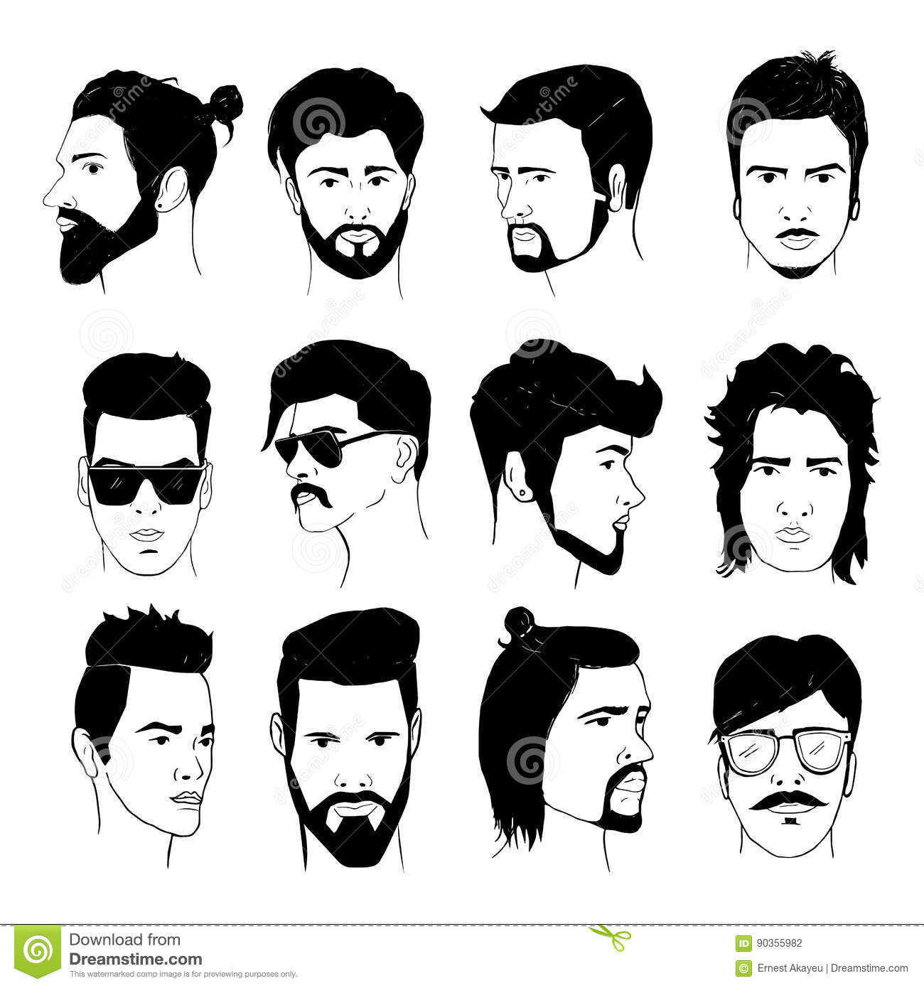 Hipster Fashion Man Hair And Beards Hand Drawn Vector