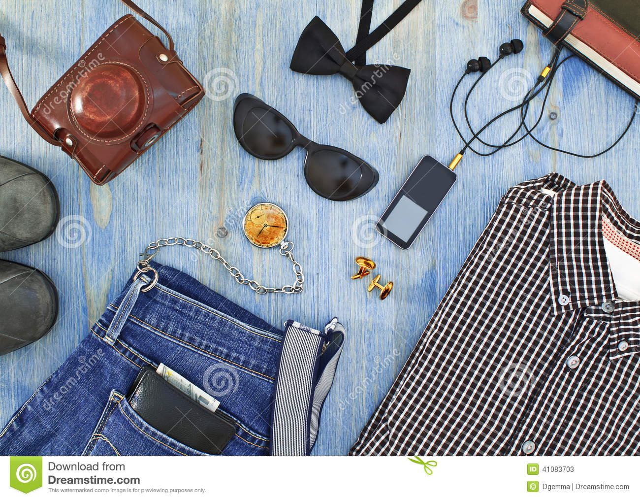 d3810006258 Set Of Men s Clothing And Accessories On Blue Wooden Table. Stock Photo  41083703 - Megapixl
