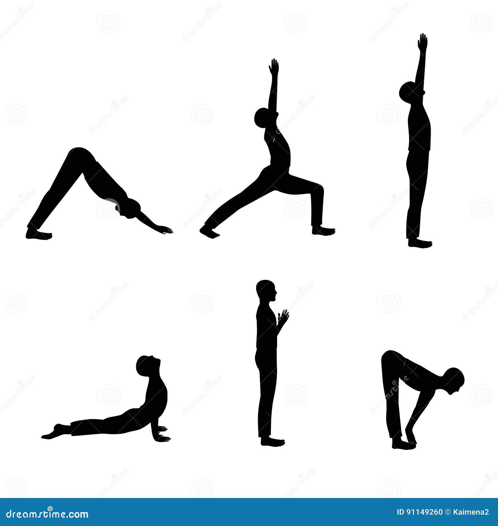 Black White Yoga Poses Stock Illustrations – 32 Black White Yoga
