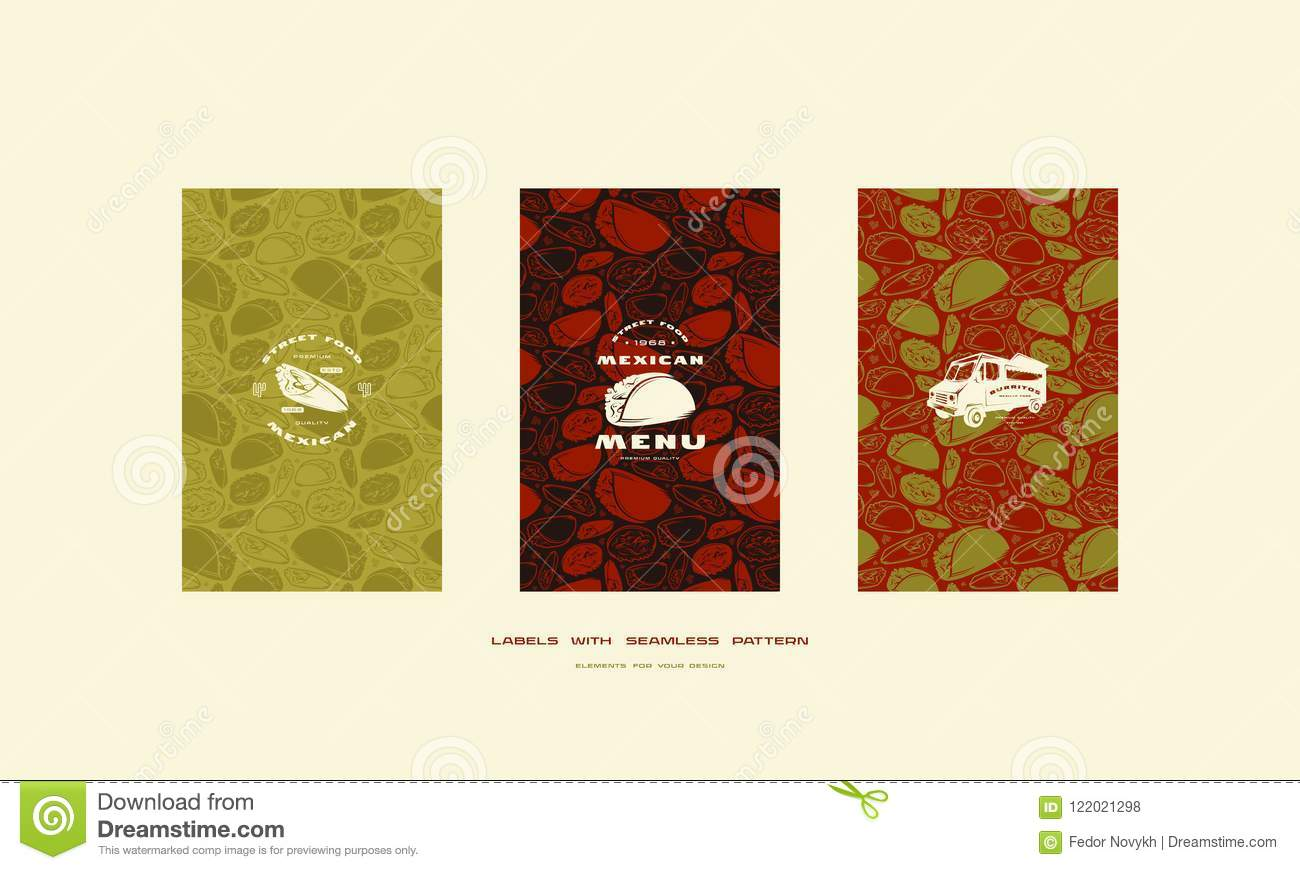 set of menu cover and seamless pattern for mexican restaurant stock