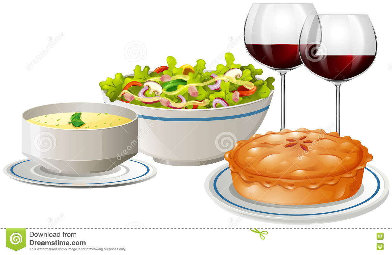 Set Menu With Food And Wine Stock Vector - Image: 74985321