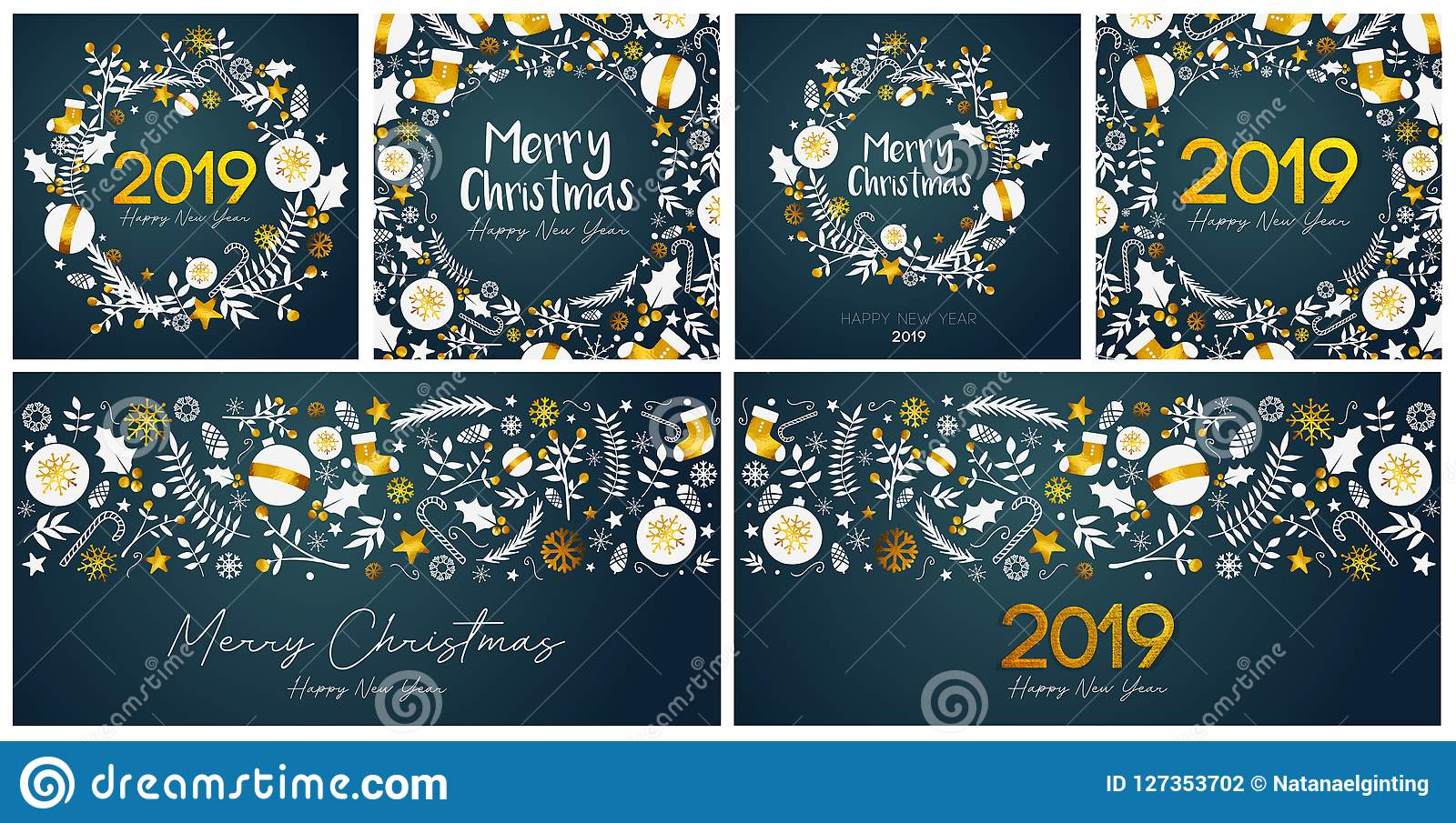 set of merry christmas and happy new year card template