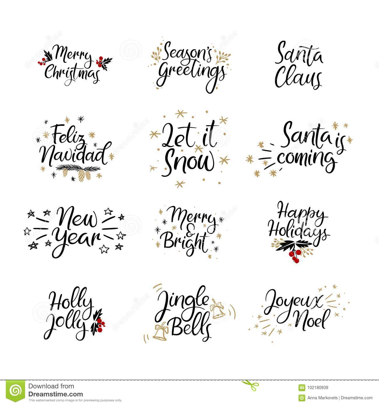 set of merry christmas and happy new year cards modern calligraphy