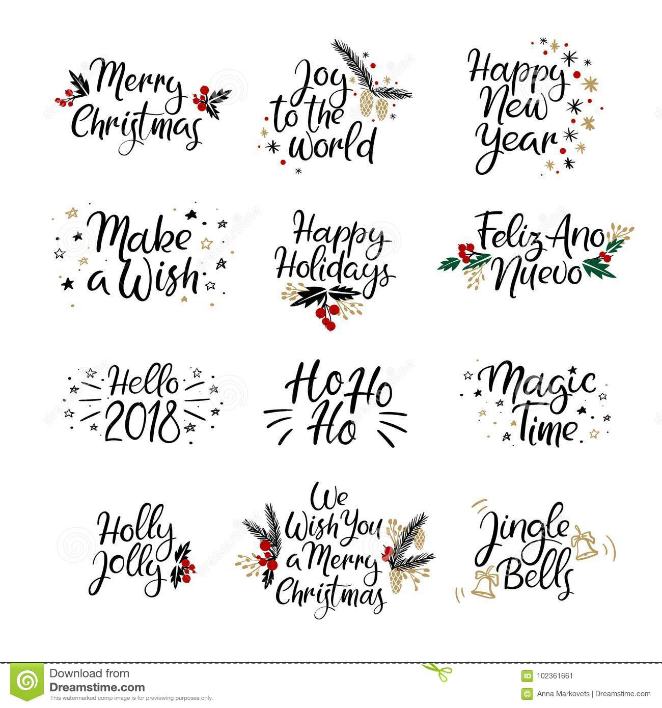 Christmas Calligraphy.Set Of Merry Christmas And Happy New Year Cards Modern
